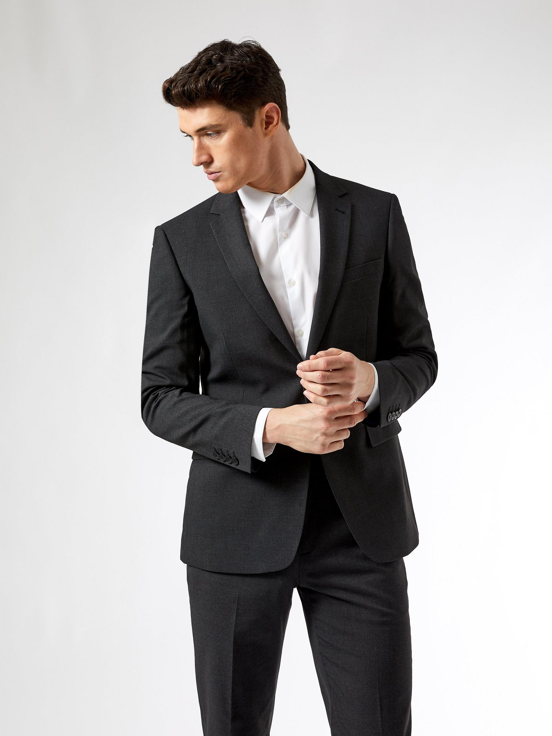 Charcoal Tailored Fit Essential Suit Jacket