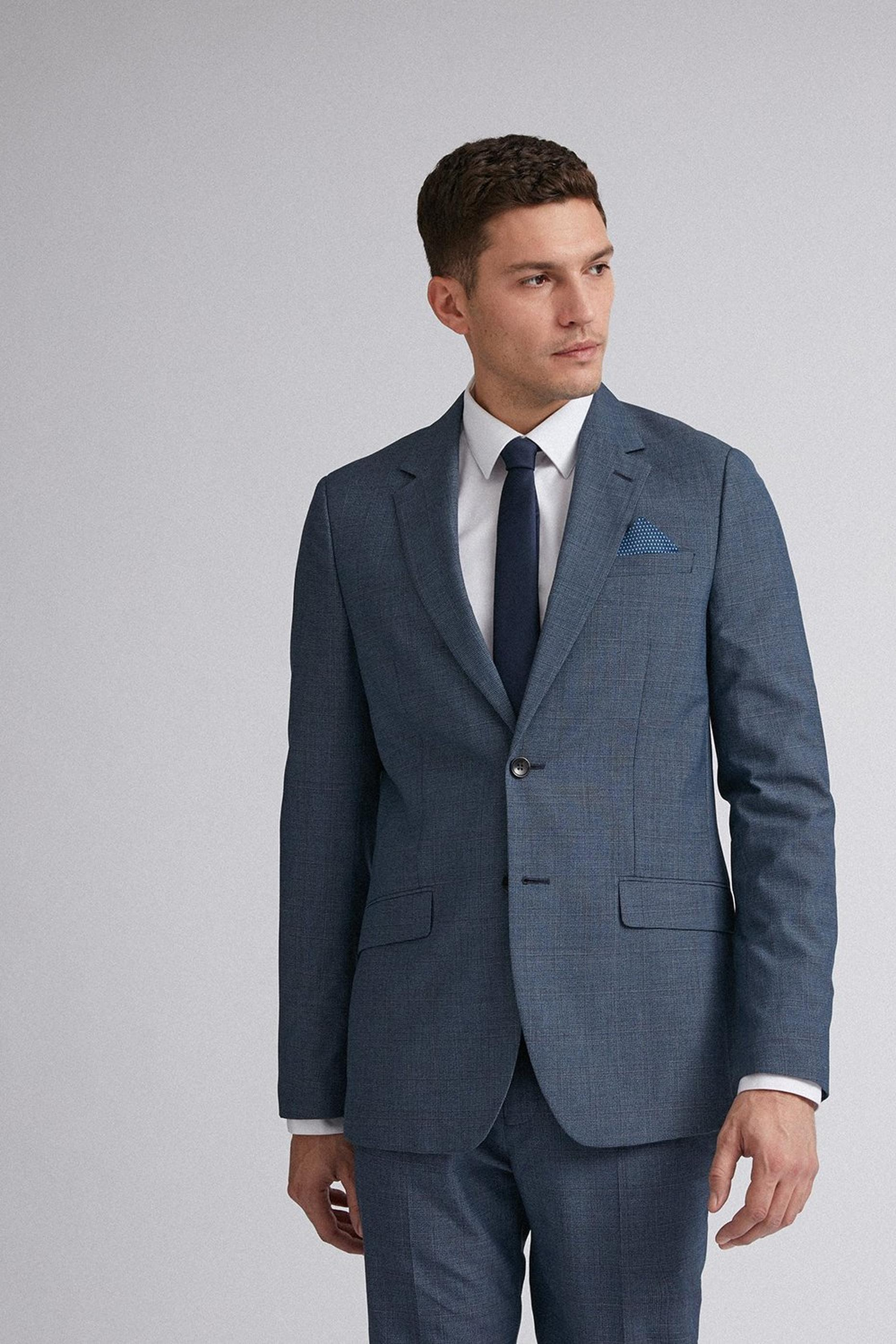 Blue Jaspe Check Slim Fit Suit Jacket