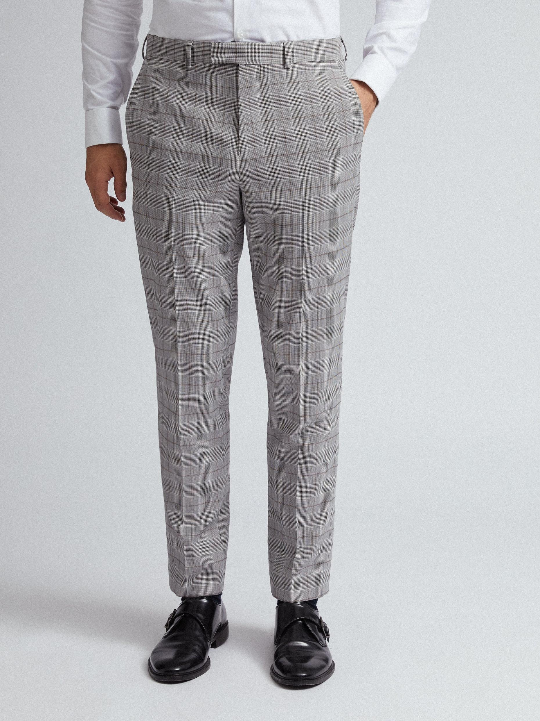 Grey and Neutral Slim fit suit trousers