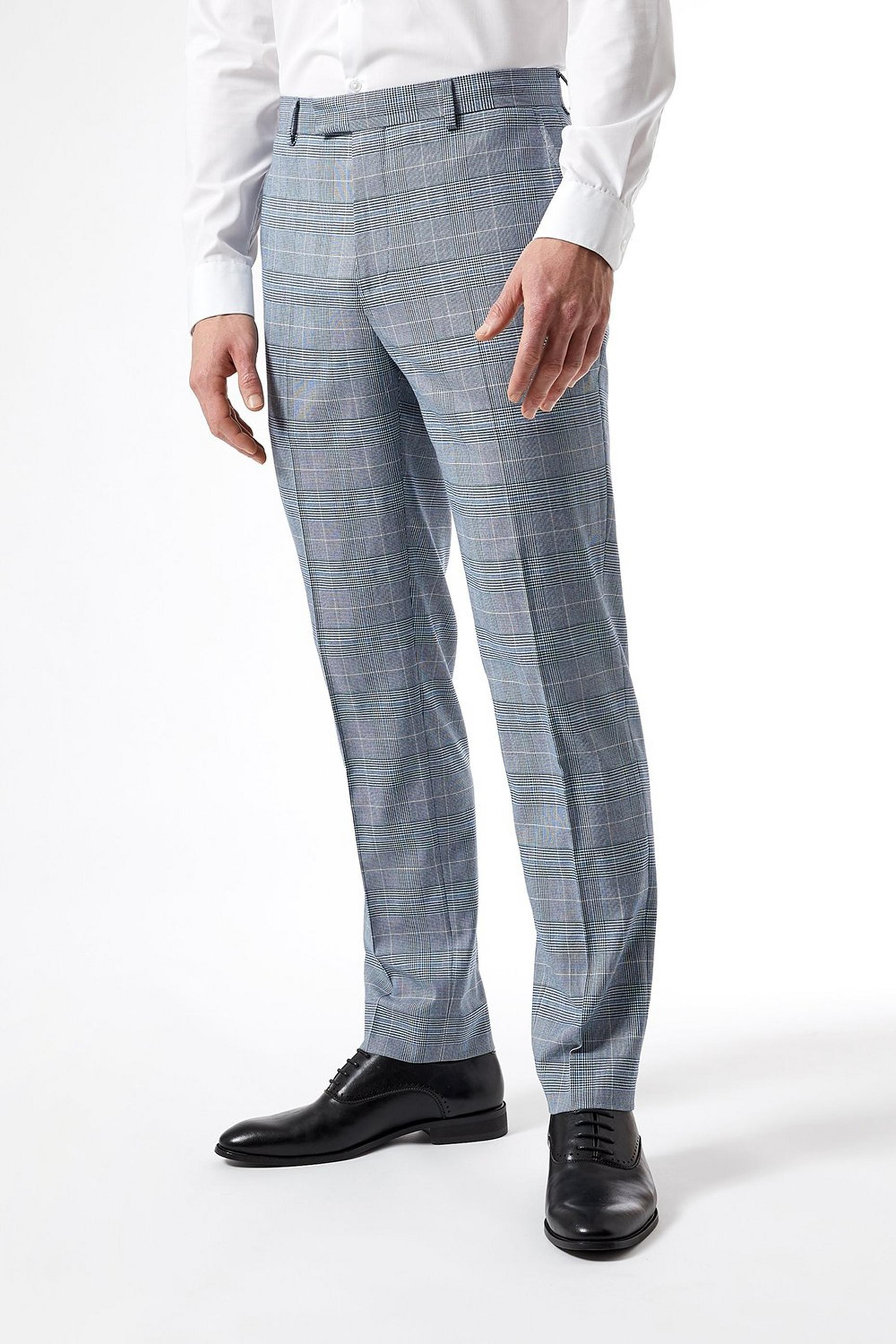 Light Blue Pow Check Slim Fit Suit Trousers