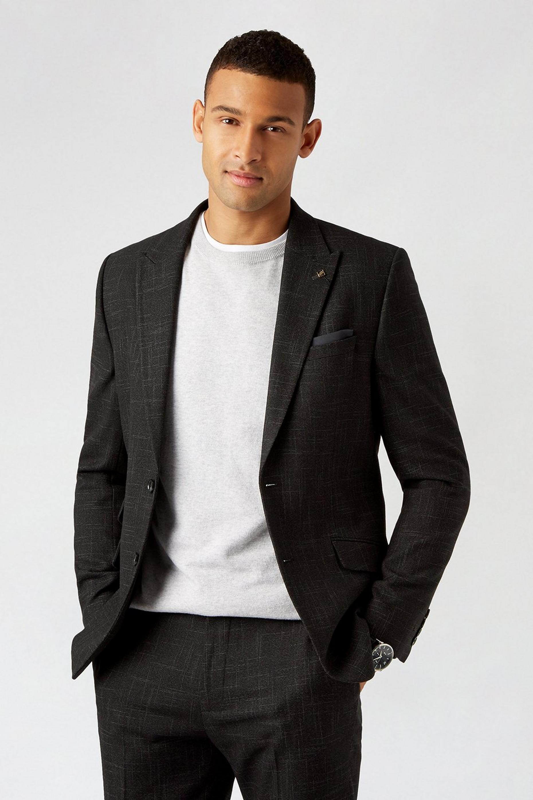 Black Scratch Slim Fit Suit Jacket