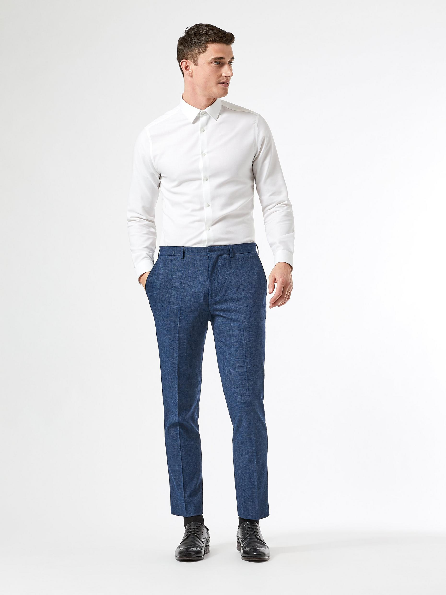 Blue Texture End On End Slim Fit Trousers
