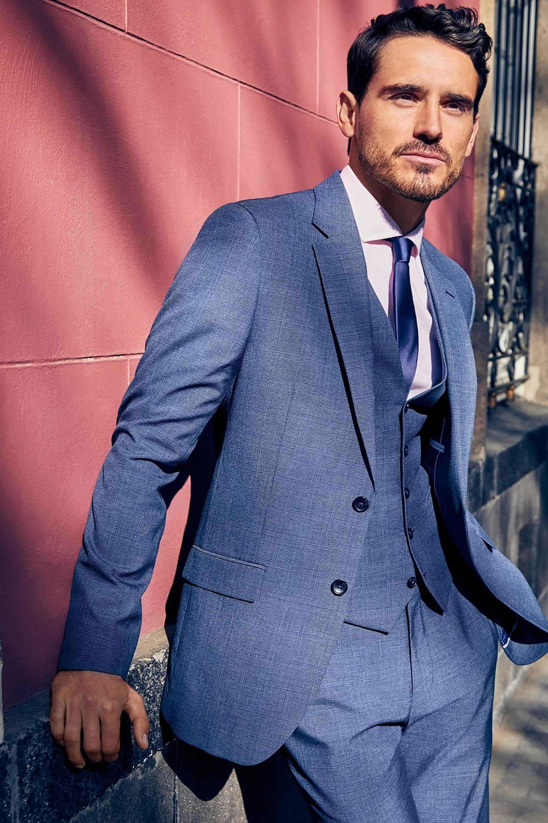 Light Blue Microweave Slim Fit Suit Jacket