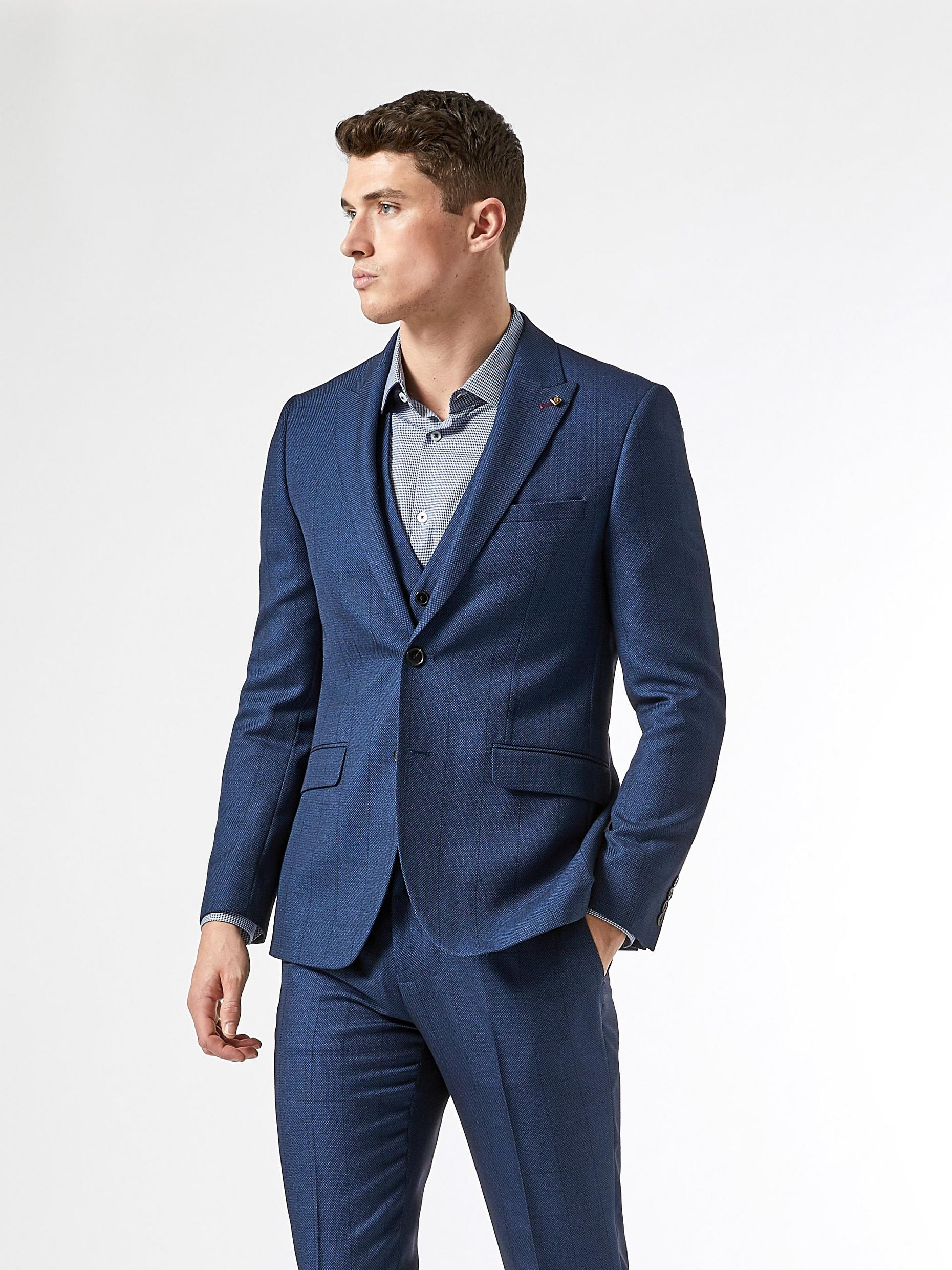 Navy Birdseye Check Slim Fit Suit Jacket