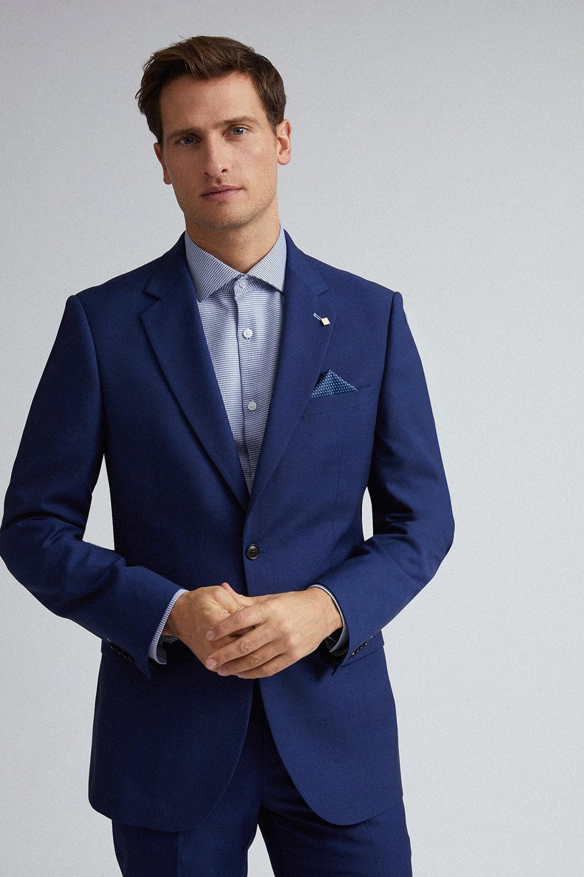 Blue Self Check Tailored Fit Suit Jacket