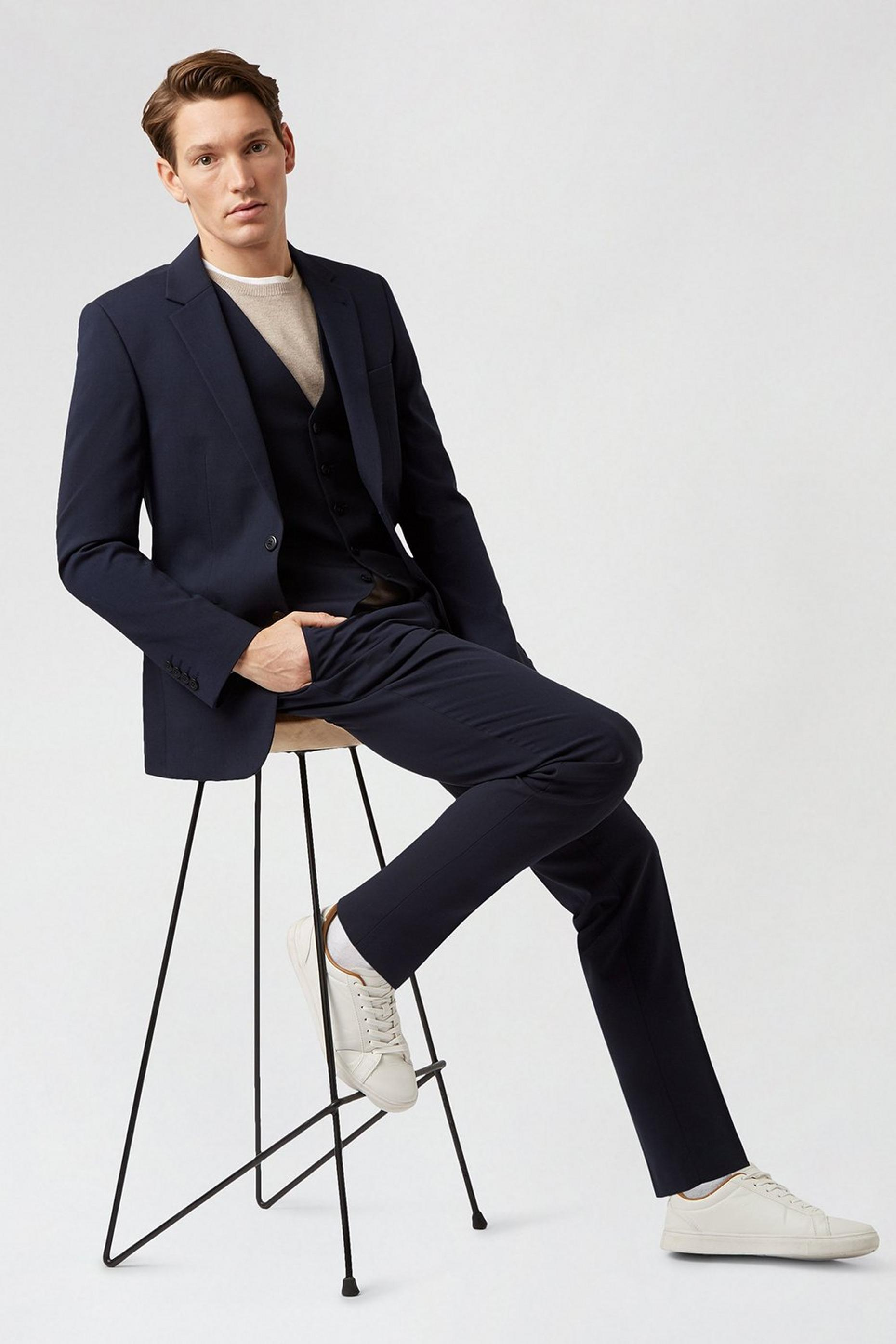 Navy Essential Eco Slim fit Suit Jacket