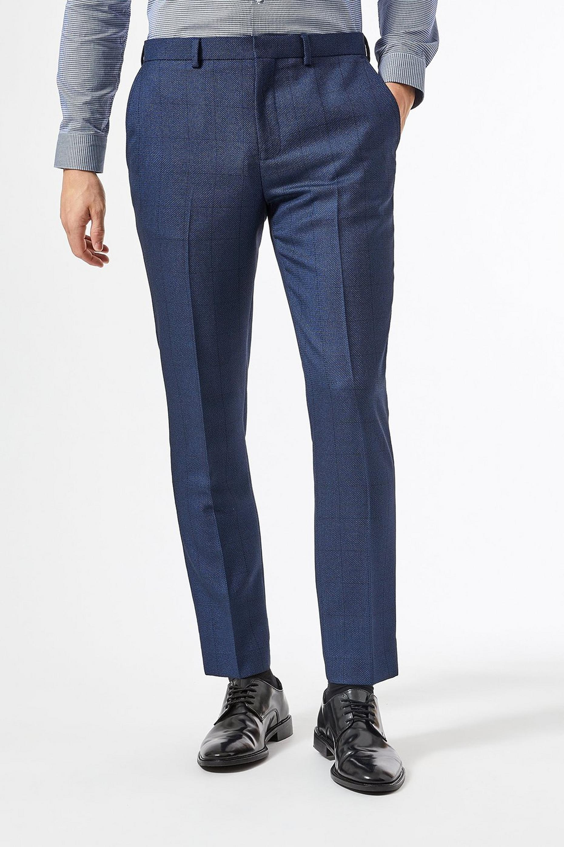 Navy Slim Fit Birdseye Suit Trousers