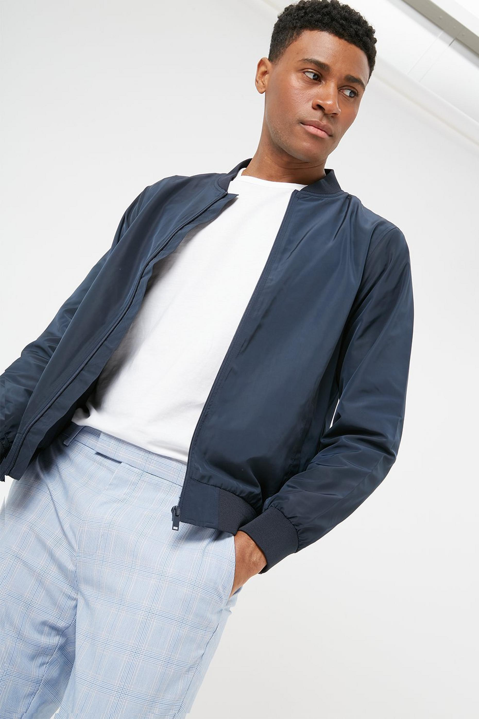 Navy Bomber Jacket with Recycled Polyester