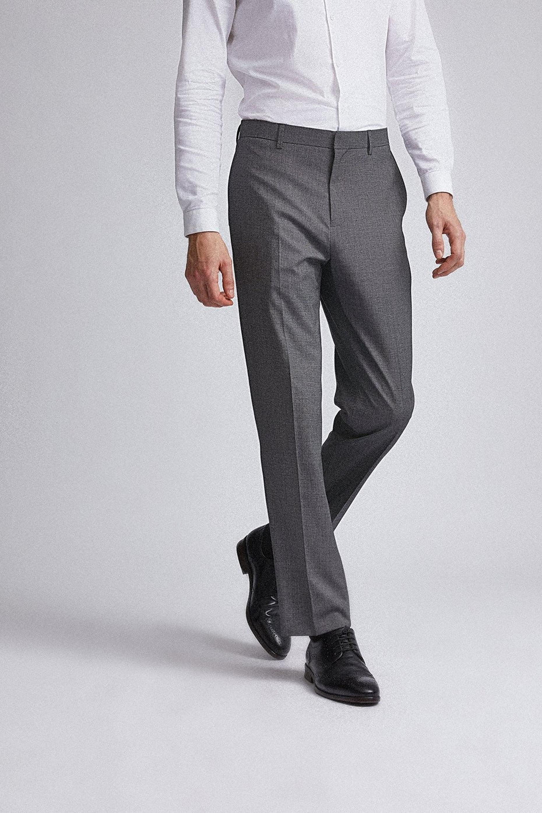 Charcoal End on End Tailored Fit Suit Trousers