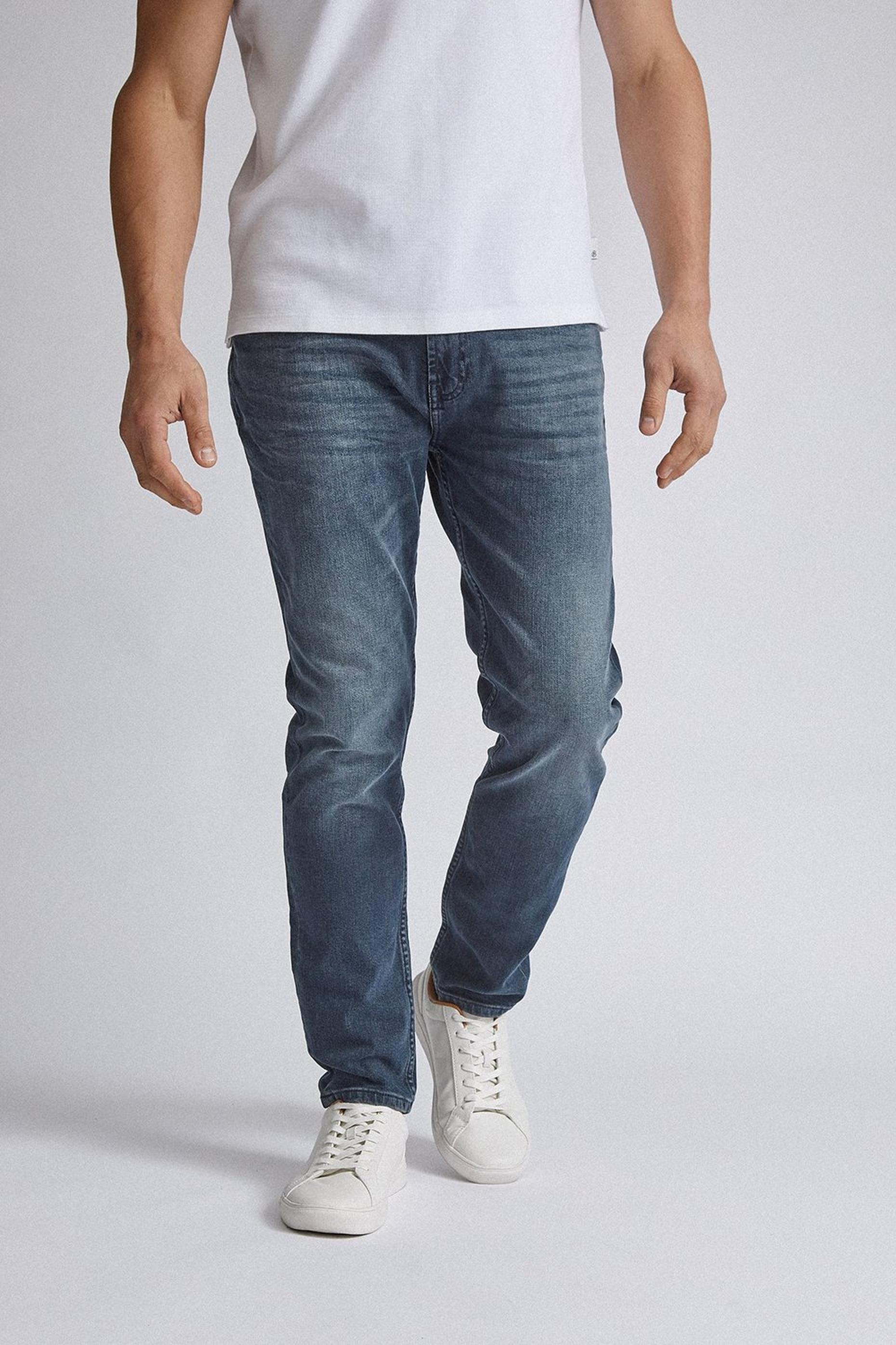 Blue Carter Tapered Fit Overdye Jeans