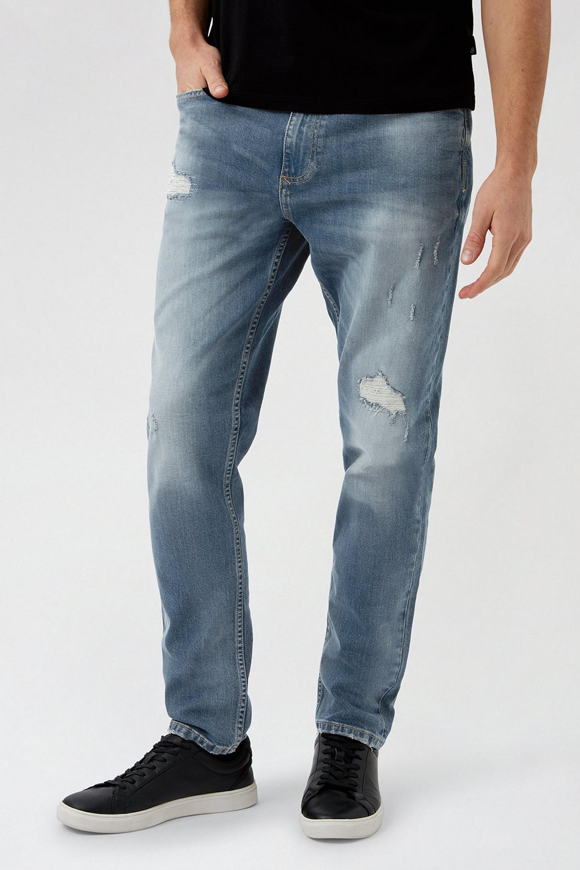 Tapered Grey Blue Organic Rip Jeans
