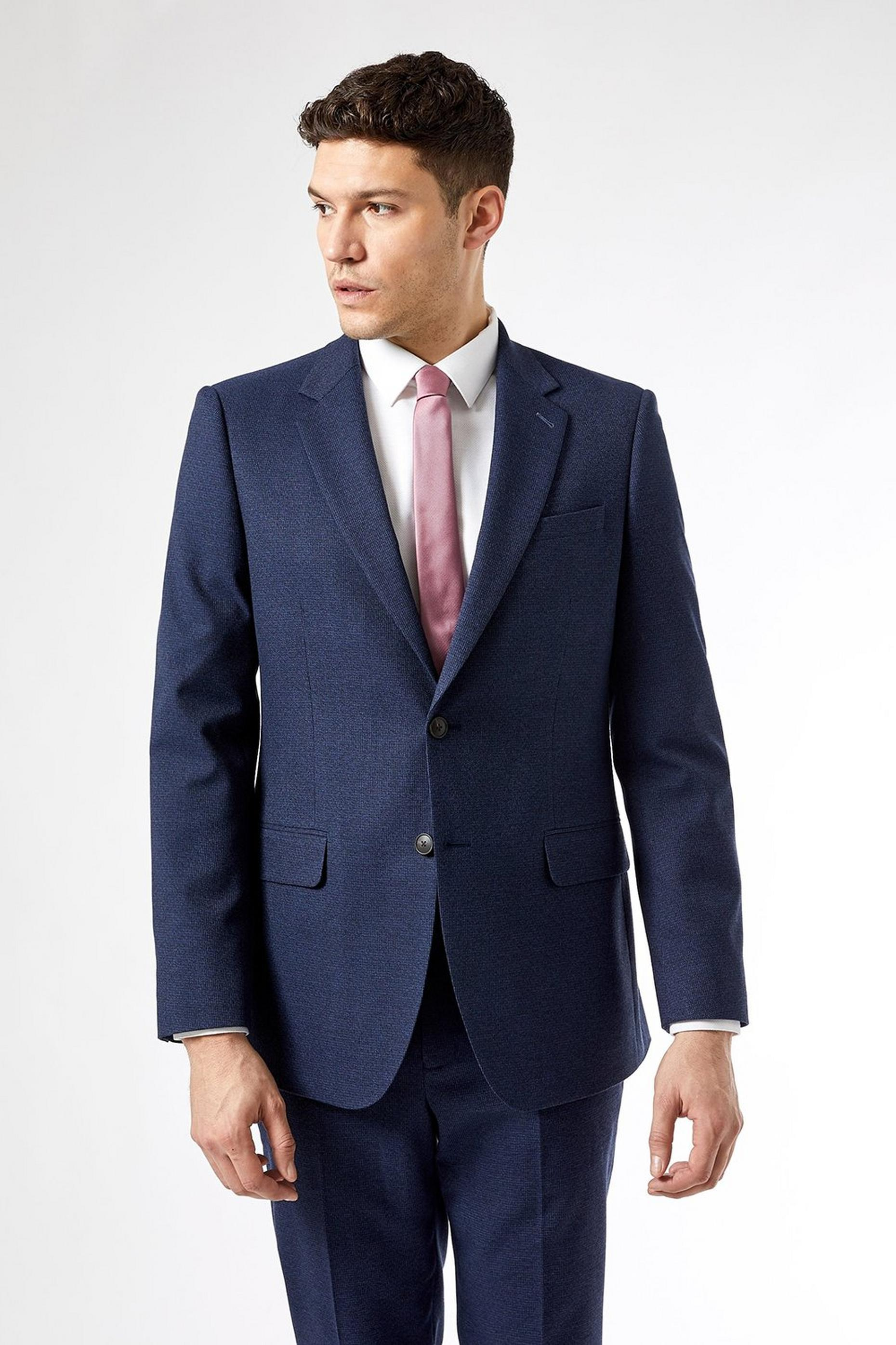 Navy Marl Tailored Fit Suit Jacket