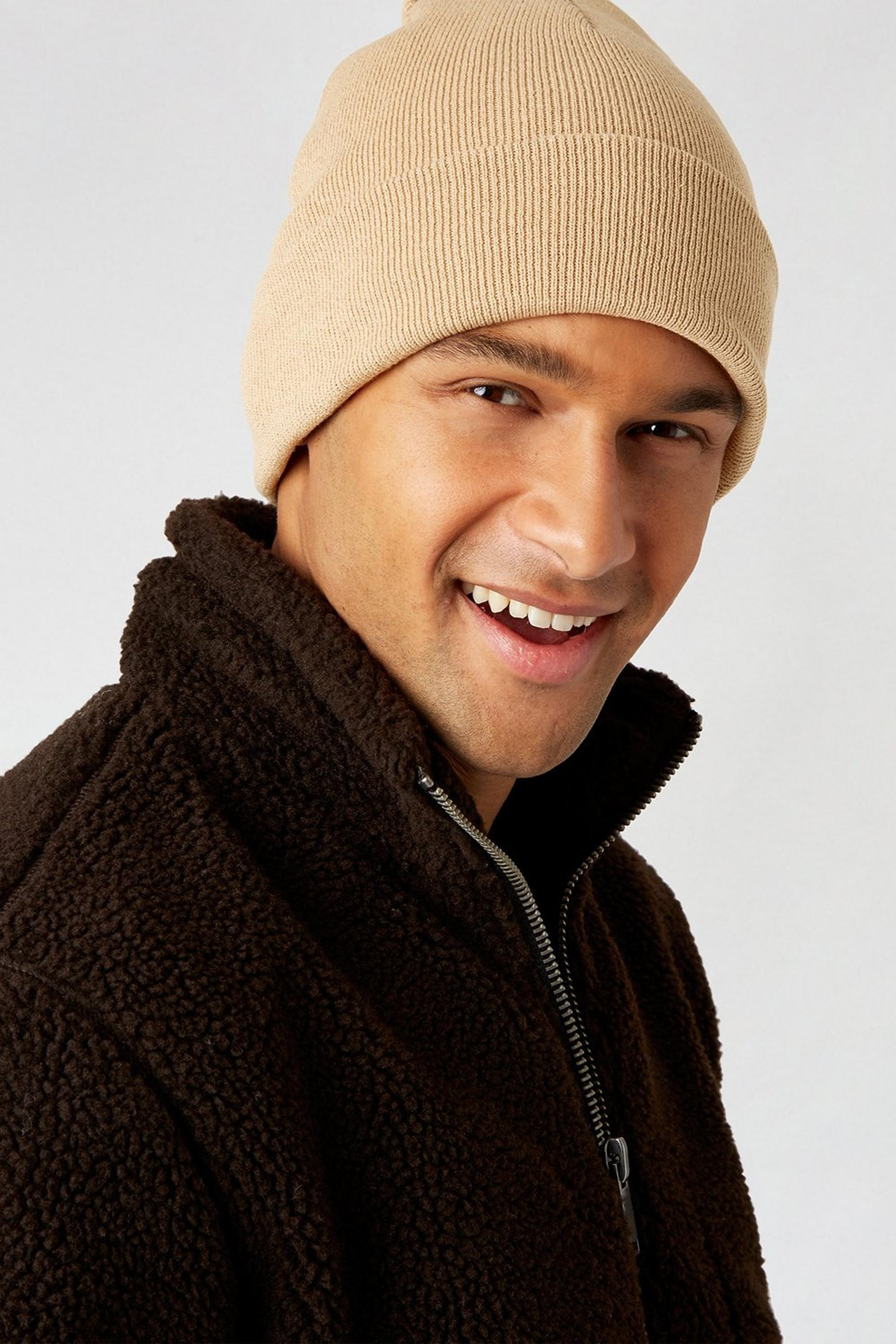 Camel Ribbed Beanie With Recycled Polyester