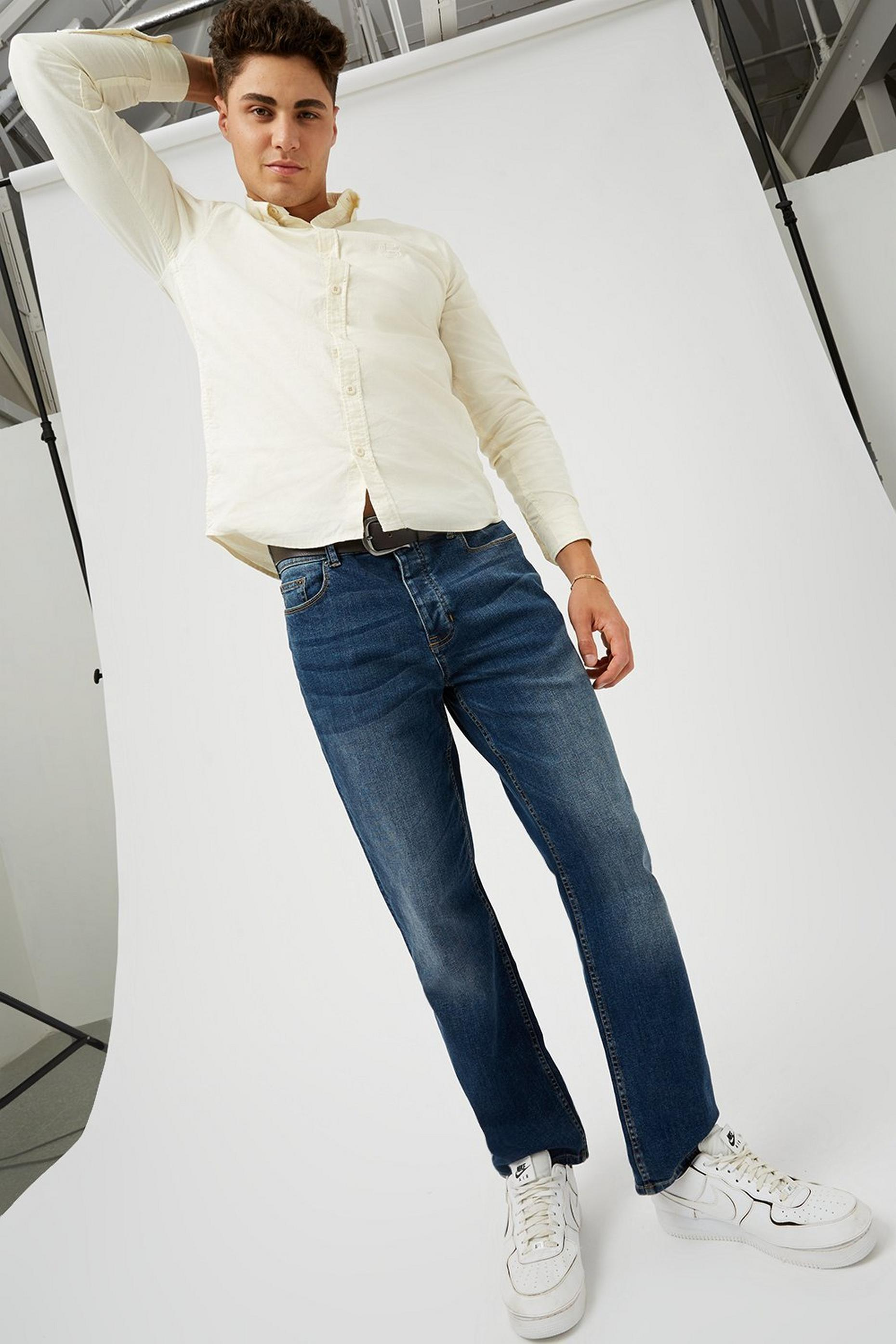 Mid Blue Logan Straight Fit Belted Jeans