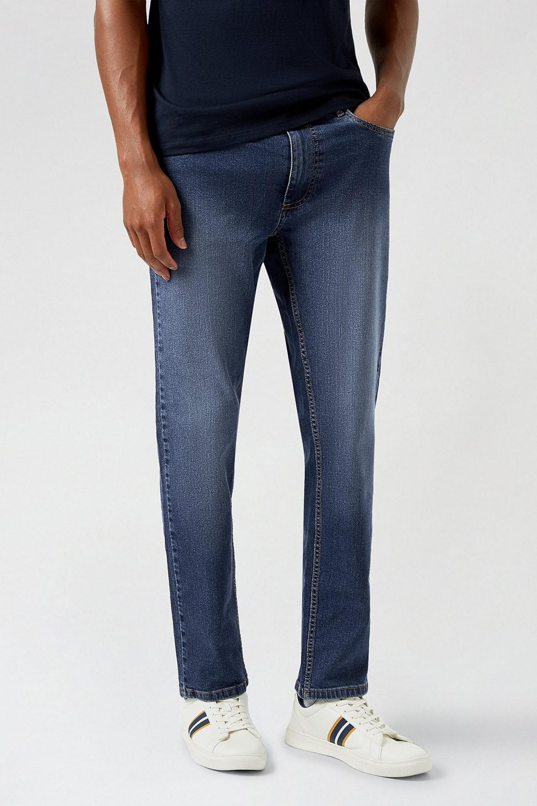 Blue Slim Fit Mid Wash Jeans
