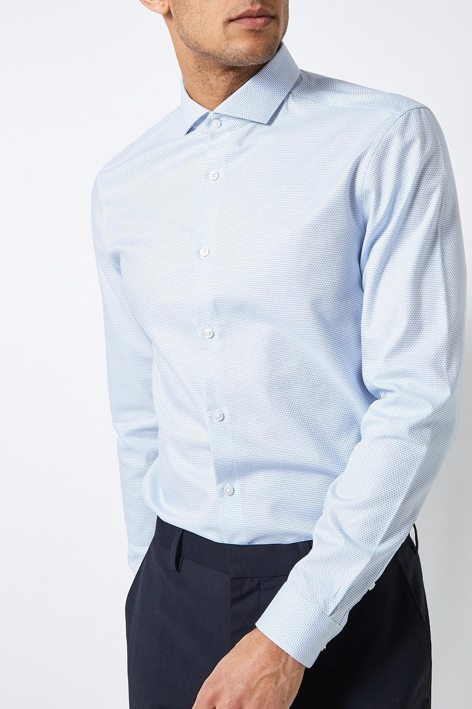 Blue Slim Fit Textured Shirt