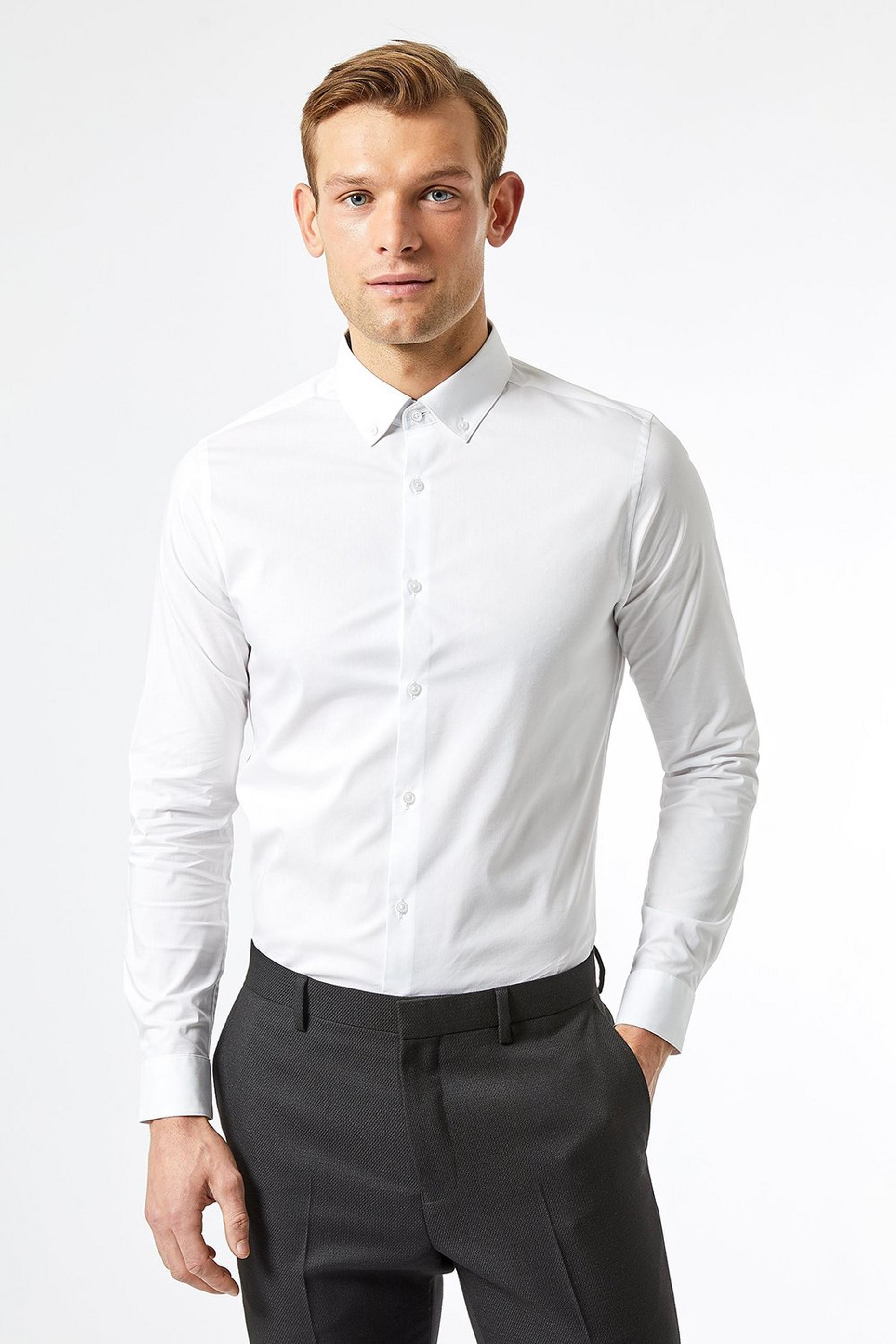 Skinny Fit White Stretch Shirt