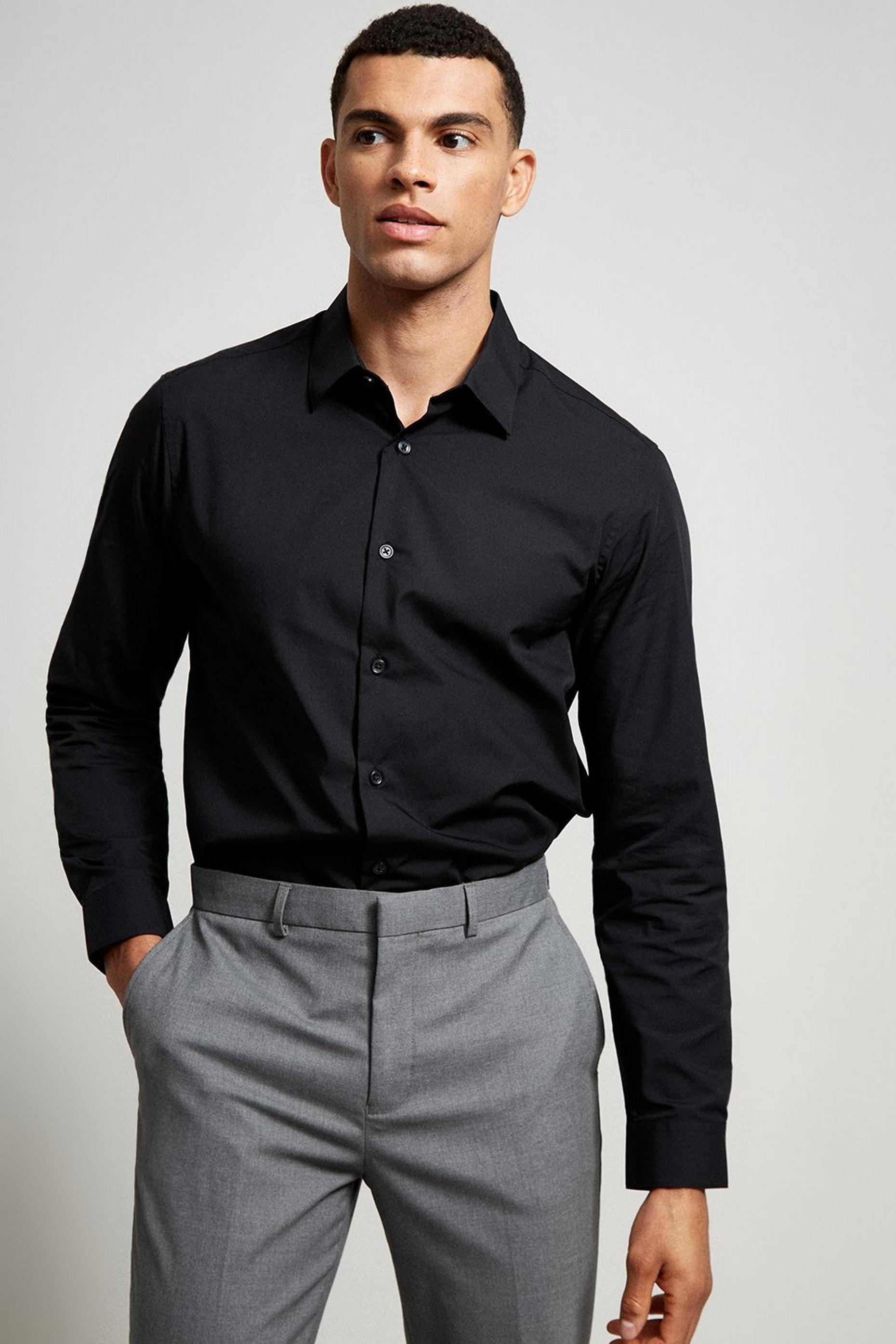 Black Tailored Fit Easy Iron Shirt