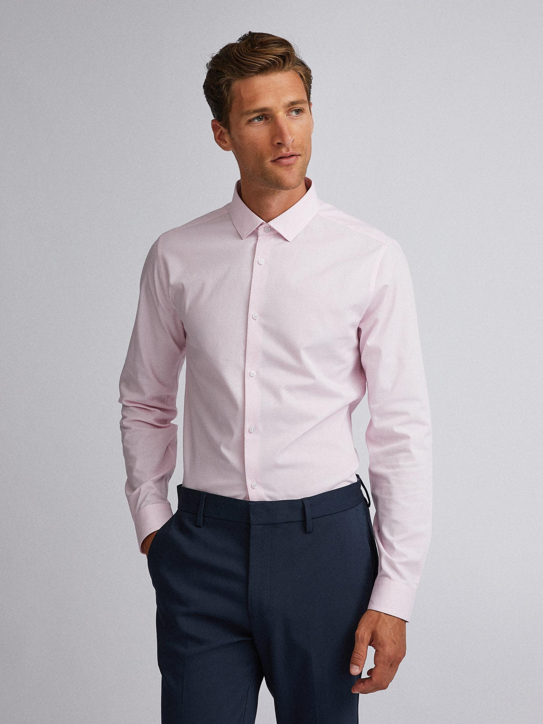 Pink Skinny Fit Textured Shirt with Stretch