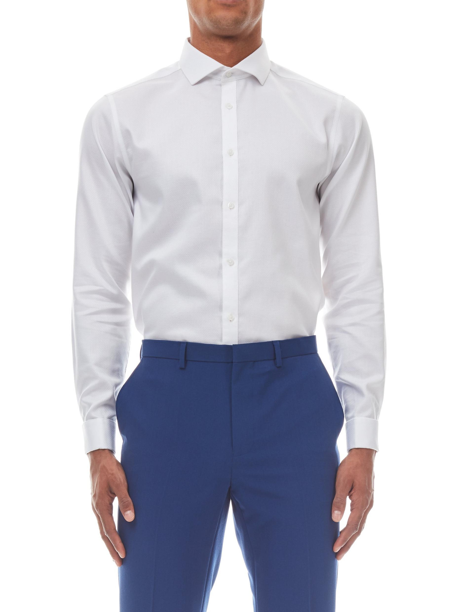 White Tailored Fit Diamond Textured Shirt