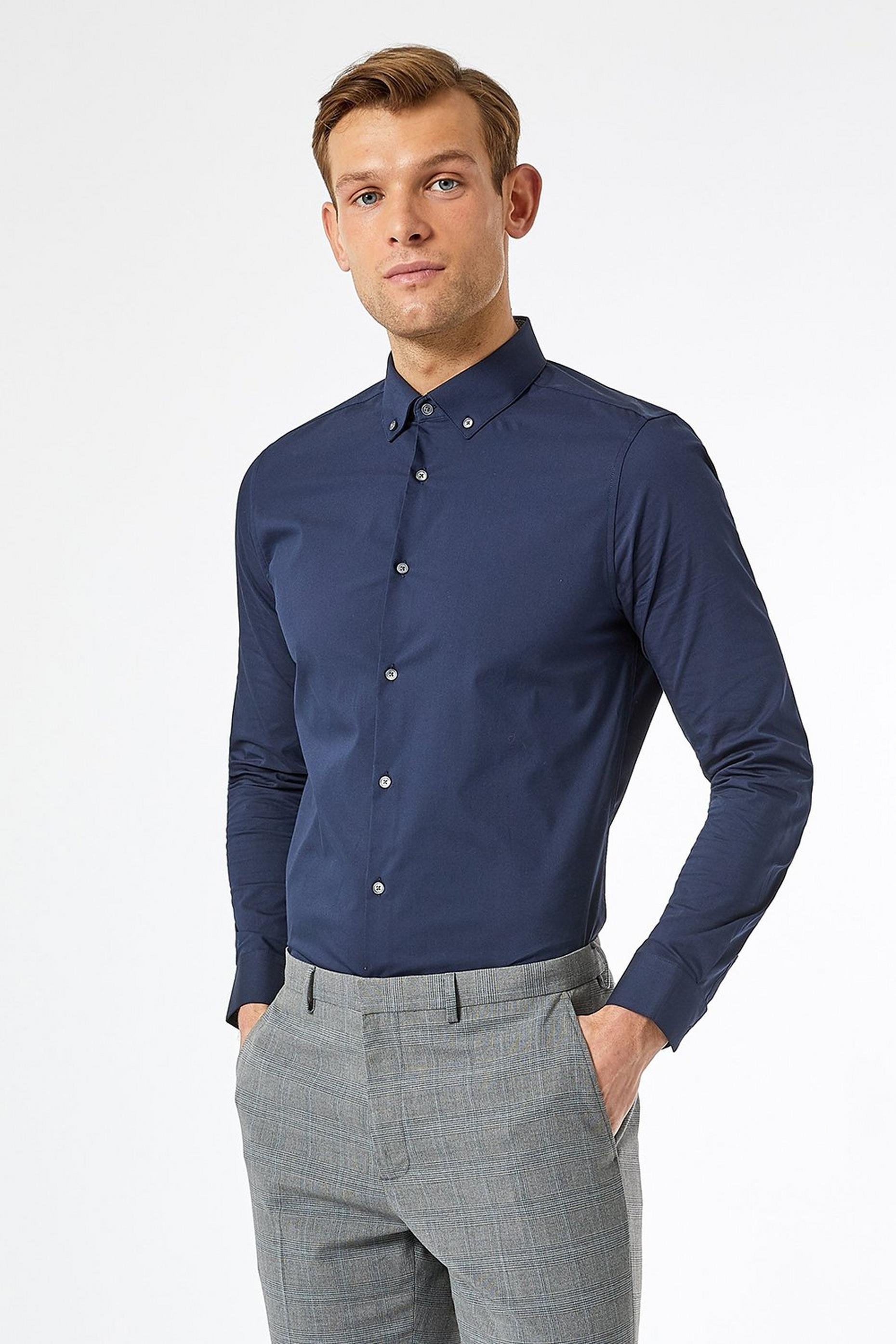 Navy Skinny Fit Button Down Stretch Shirt