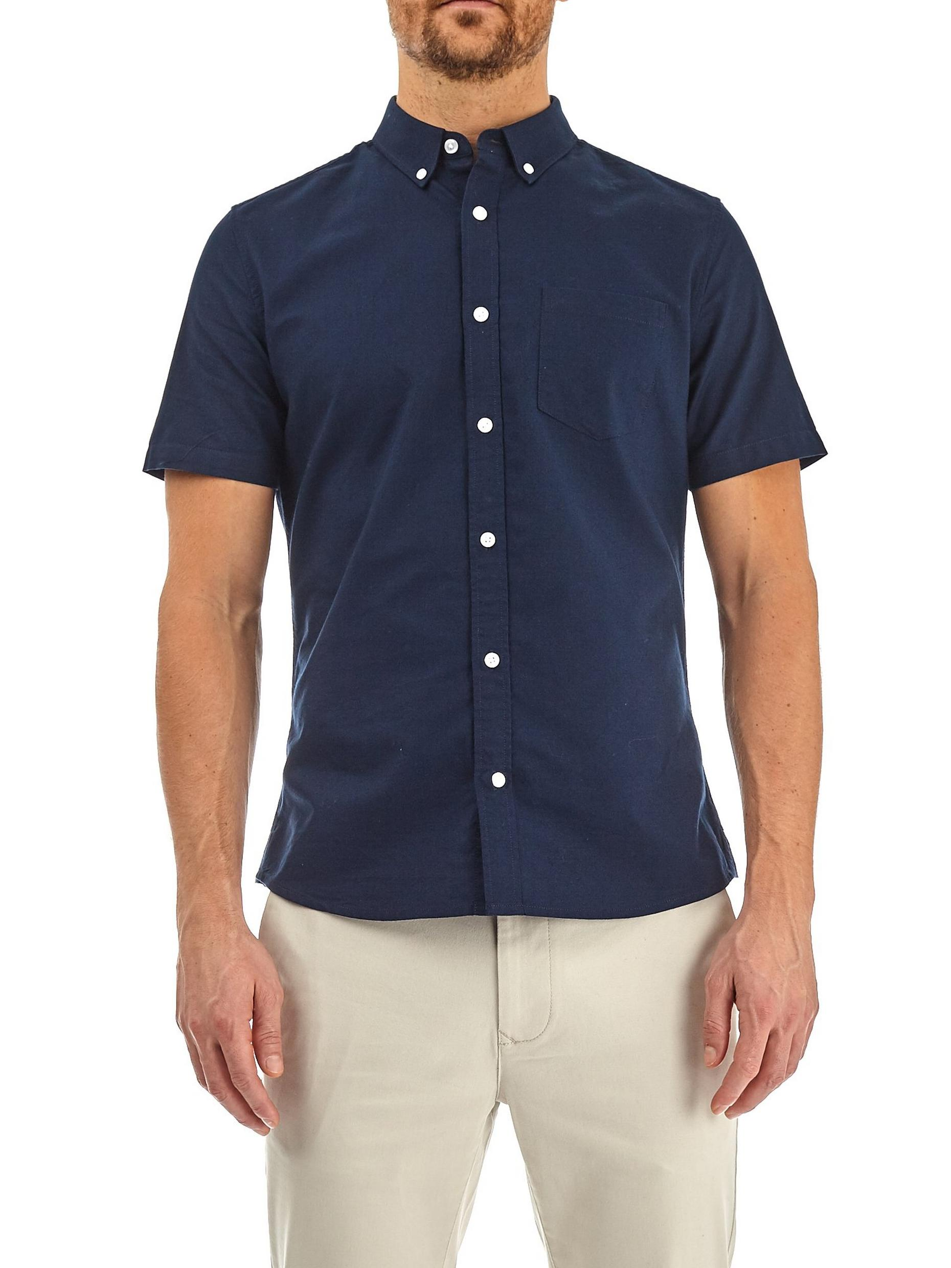 Navy Short Sleeve Oxford Shirt