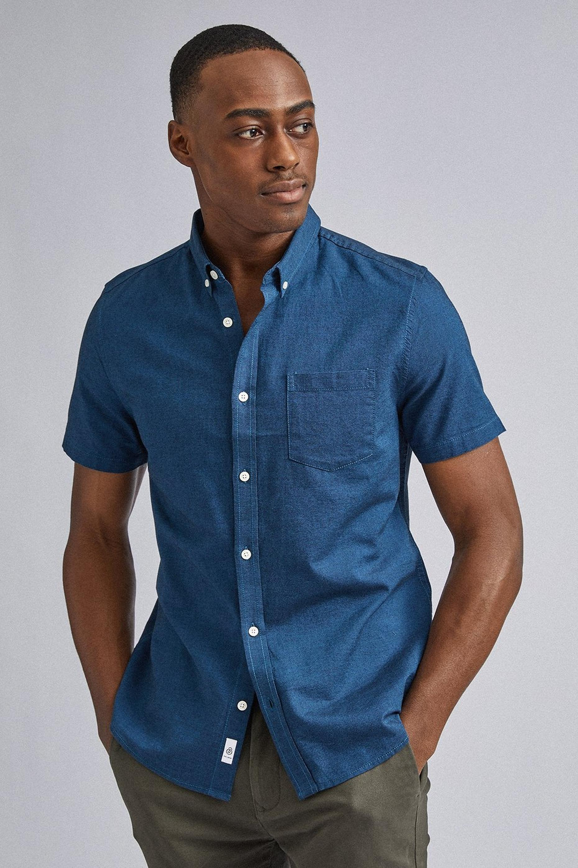 Marine Blue Short Sleeve Oxford Shirt