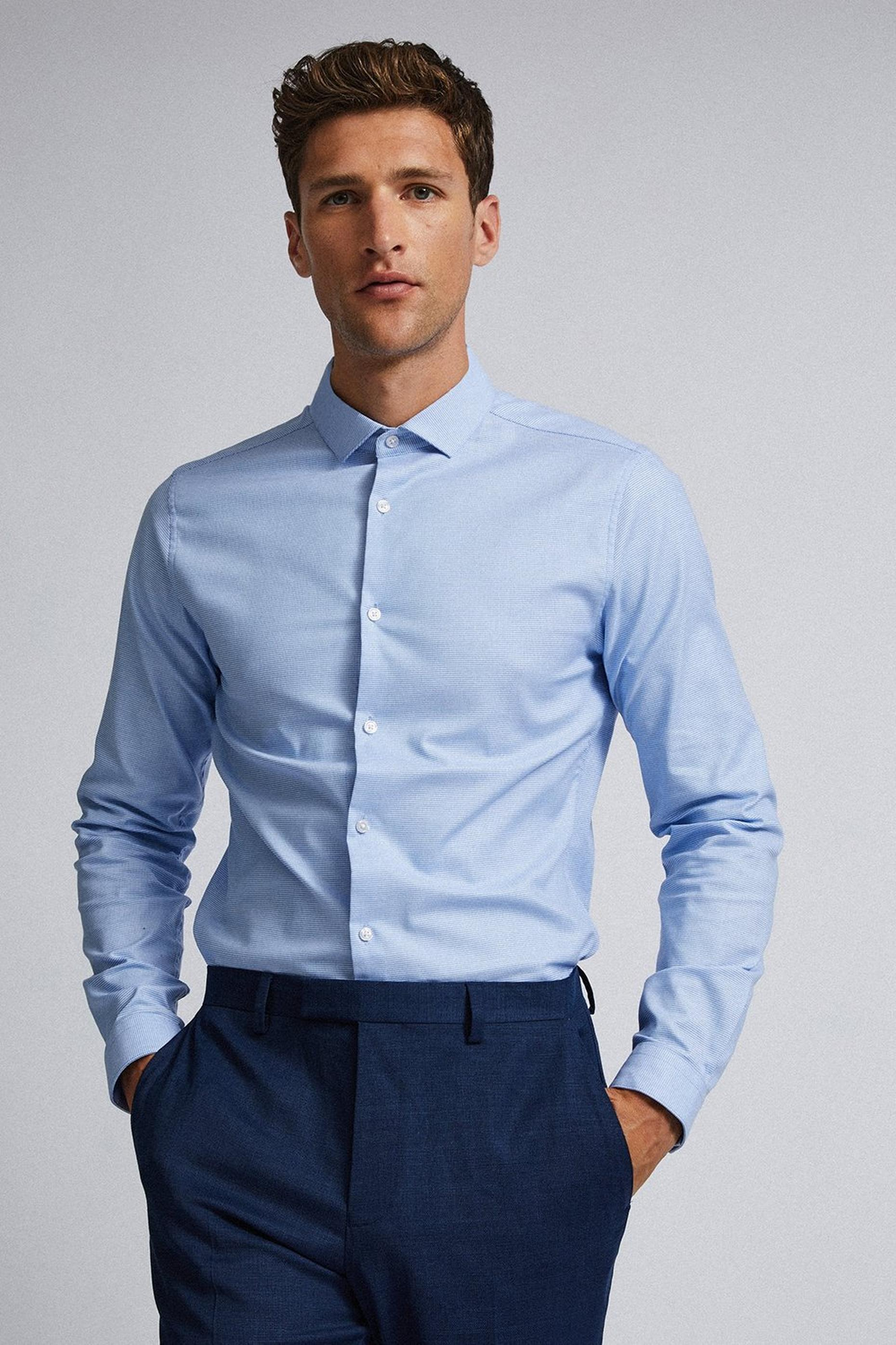 Blue Skinny Fit Puppytooth Shirt