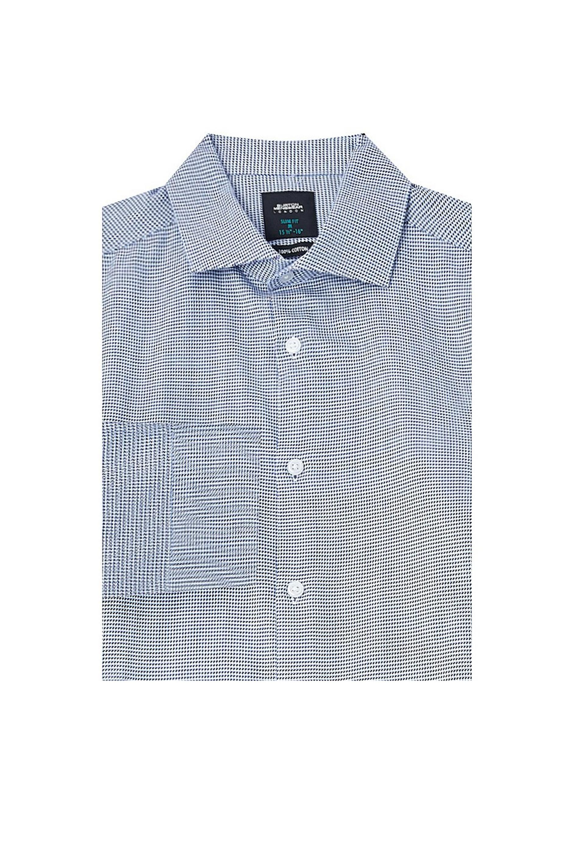 Skinny Single Cuff Blue Puppytooth Shirt