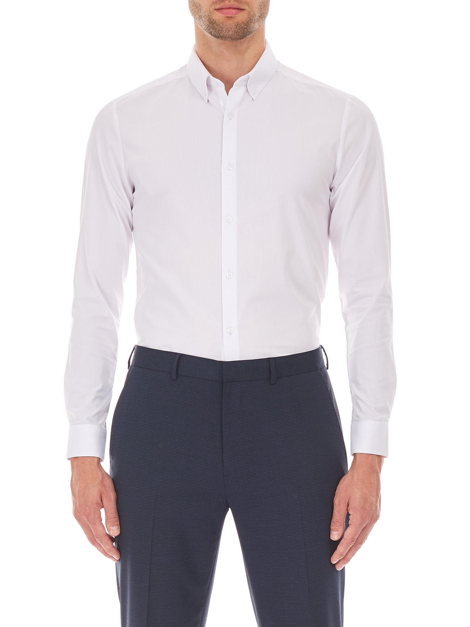 Skinny White Dobbby Stretch Shirt