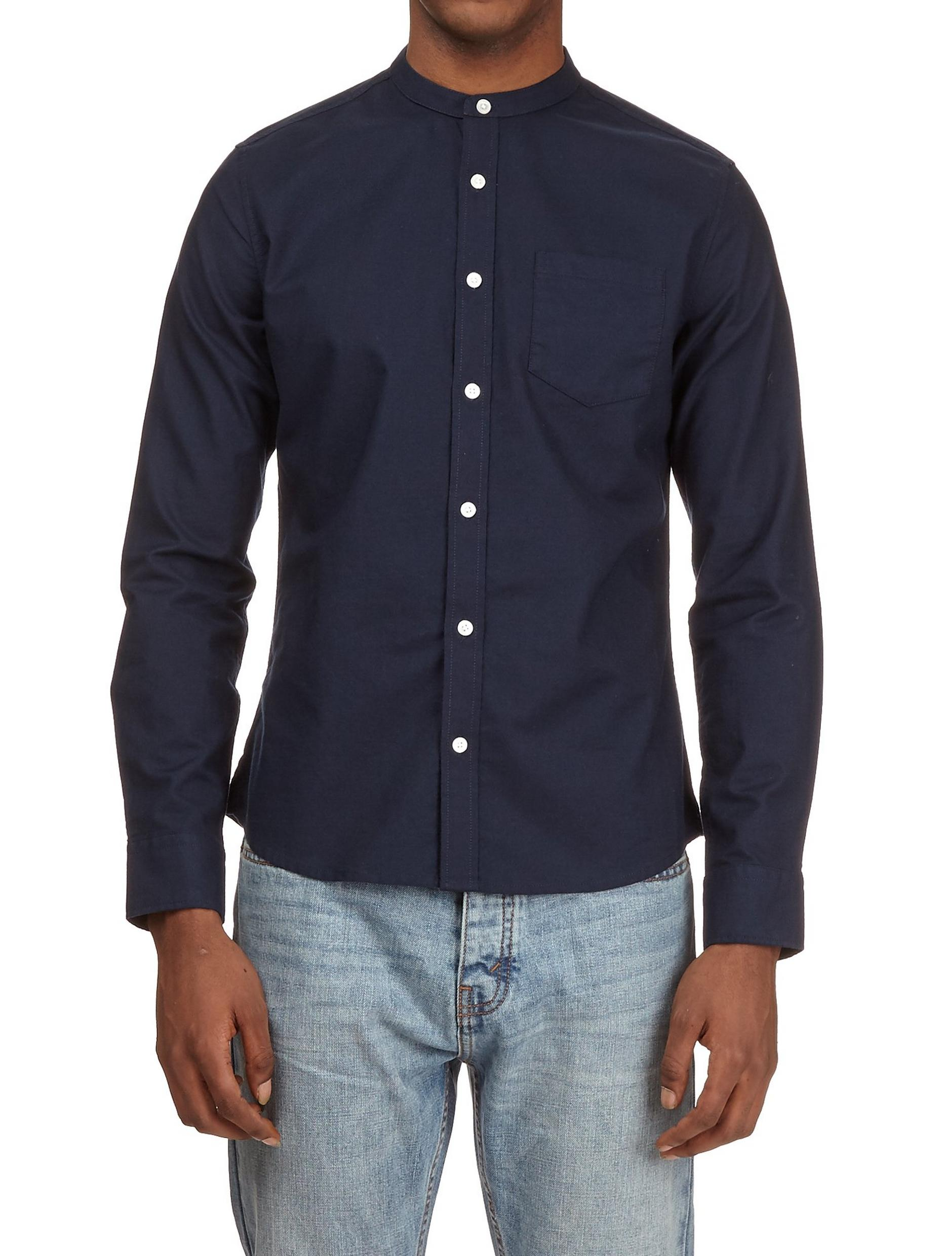 Navy Long Sleeve Grandad Collar Oxford Shirt