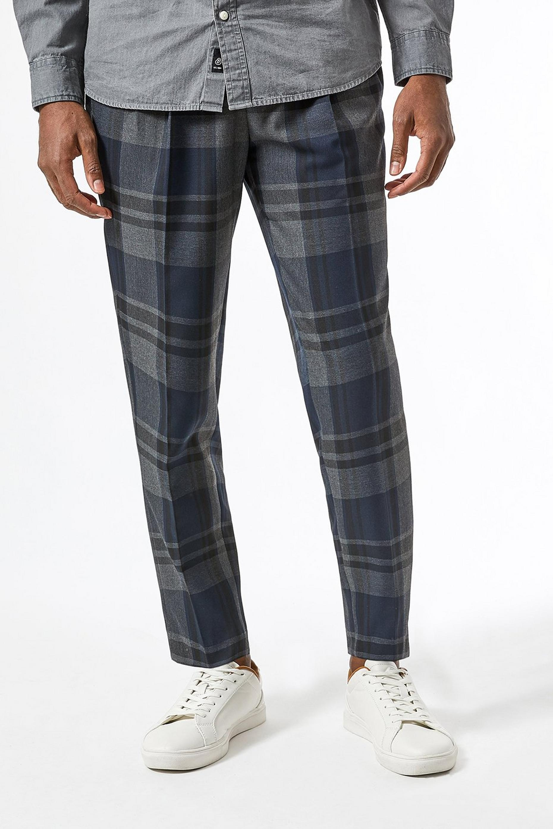 Navy Blue Tapered Fit Tartan Check Trousers