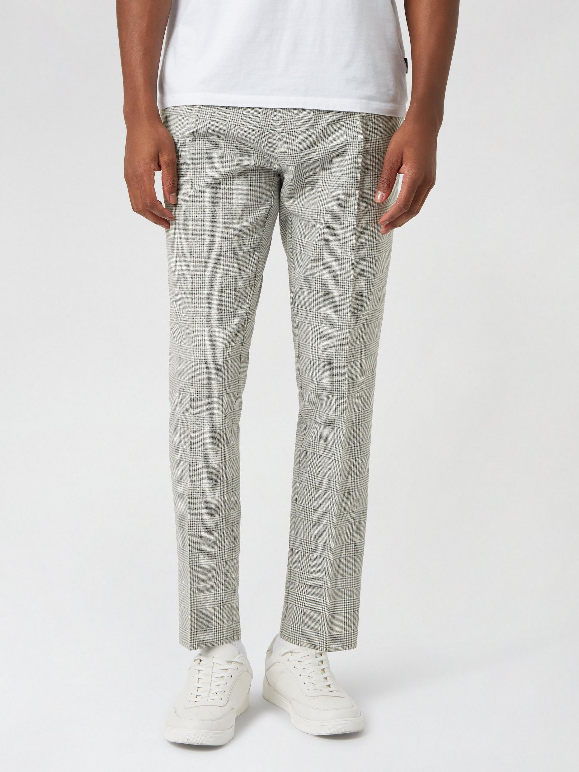 Skinny POW Check Pleated Trousers