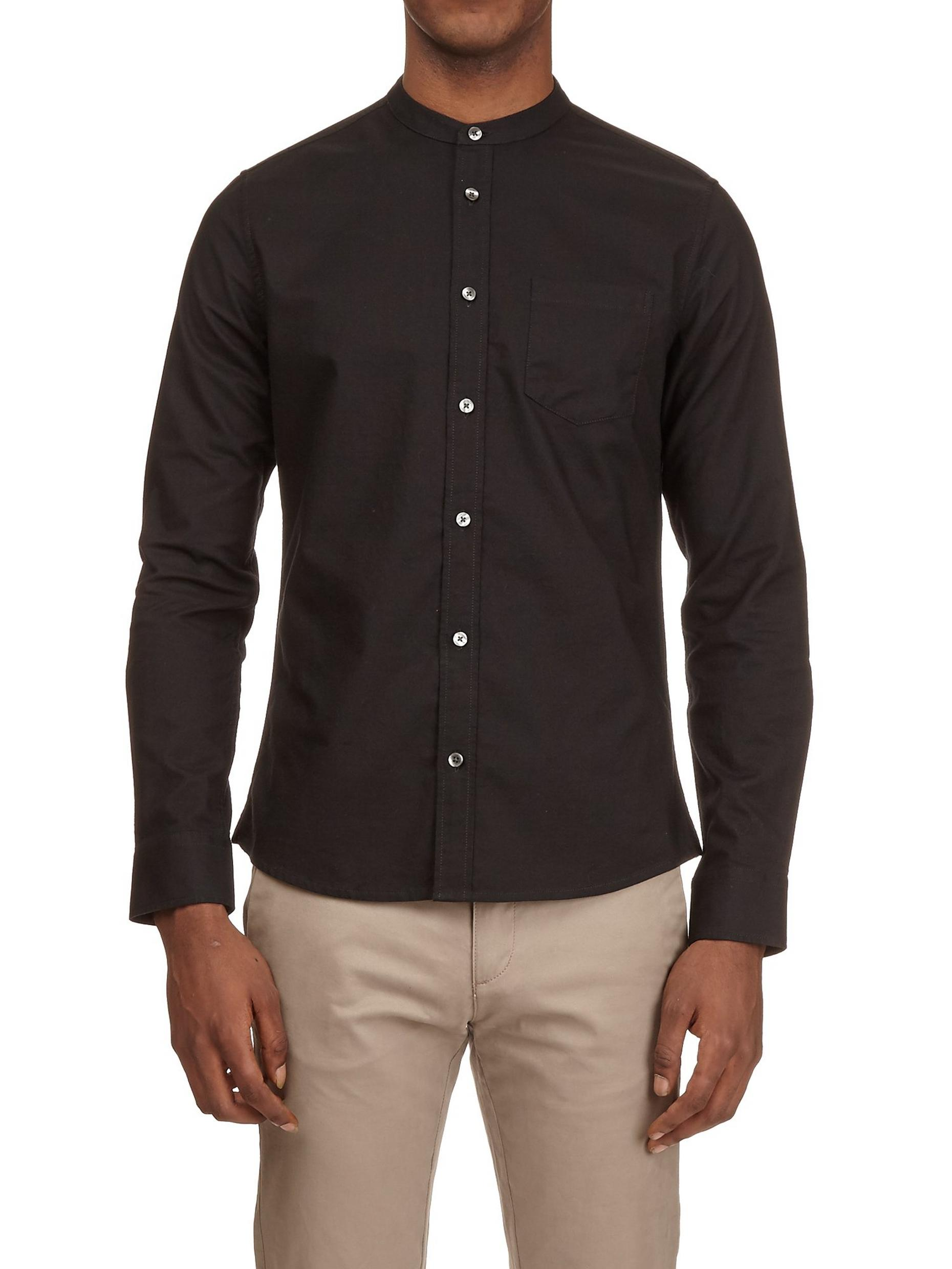 Black Long Sleeve Grandad Collar Oxford Shirt