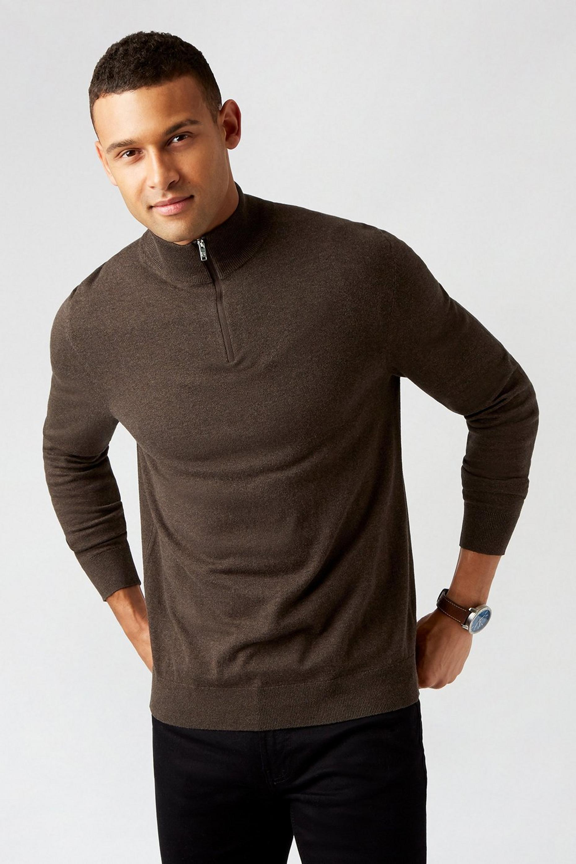 Half Zip Brown jumper