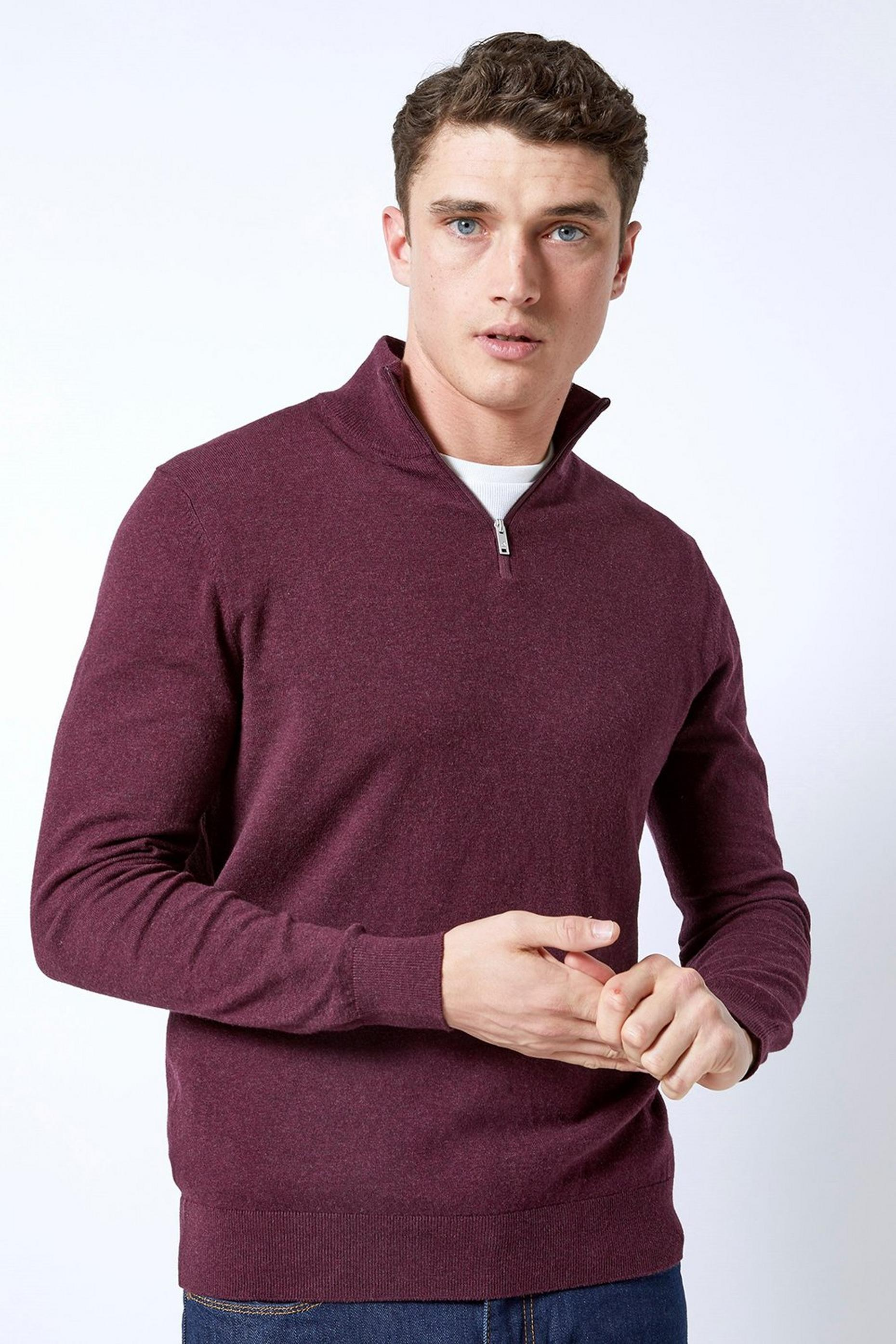 Burgundy Half Zip Jumper