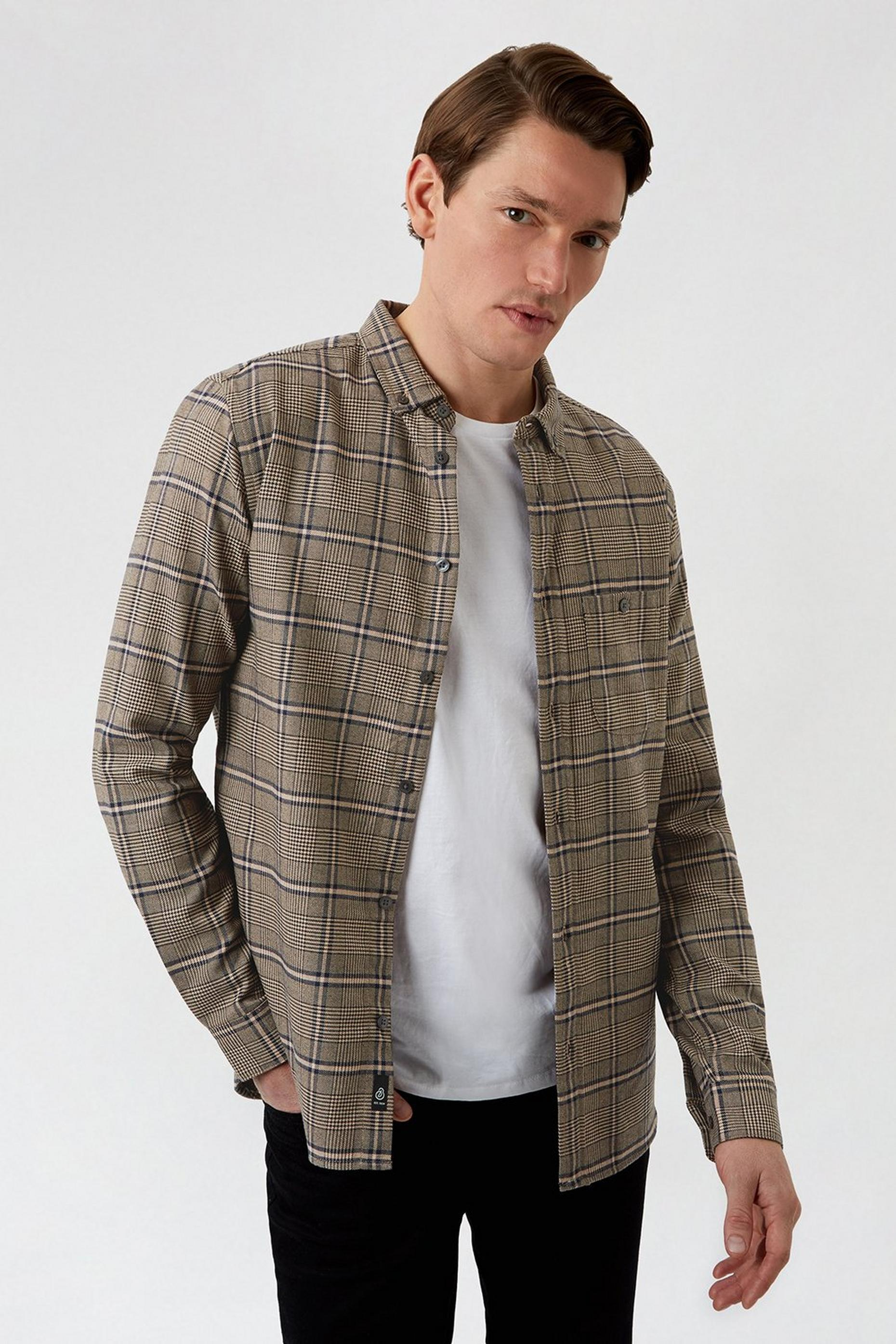 Stone Check Print Long Sleeve Shirt