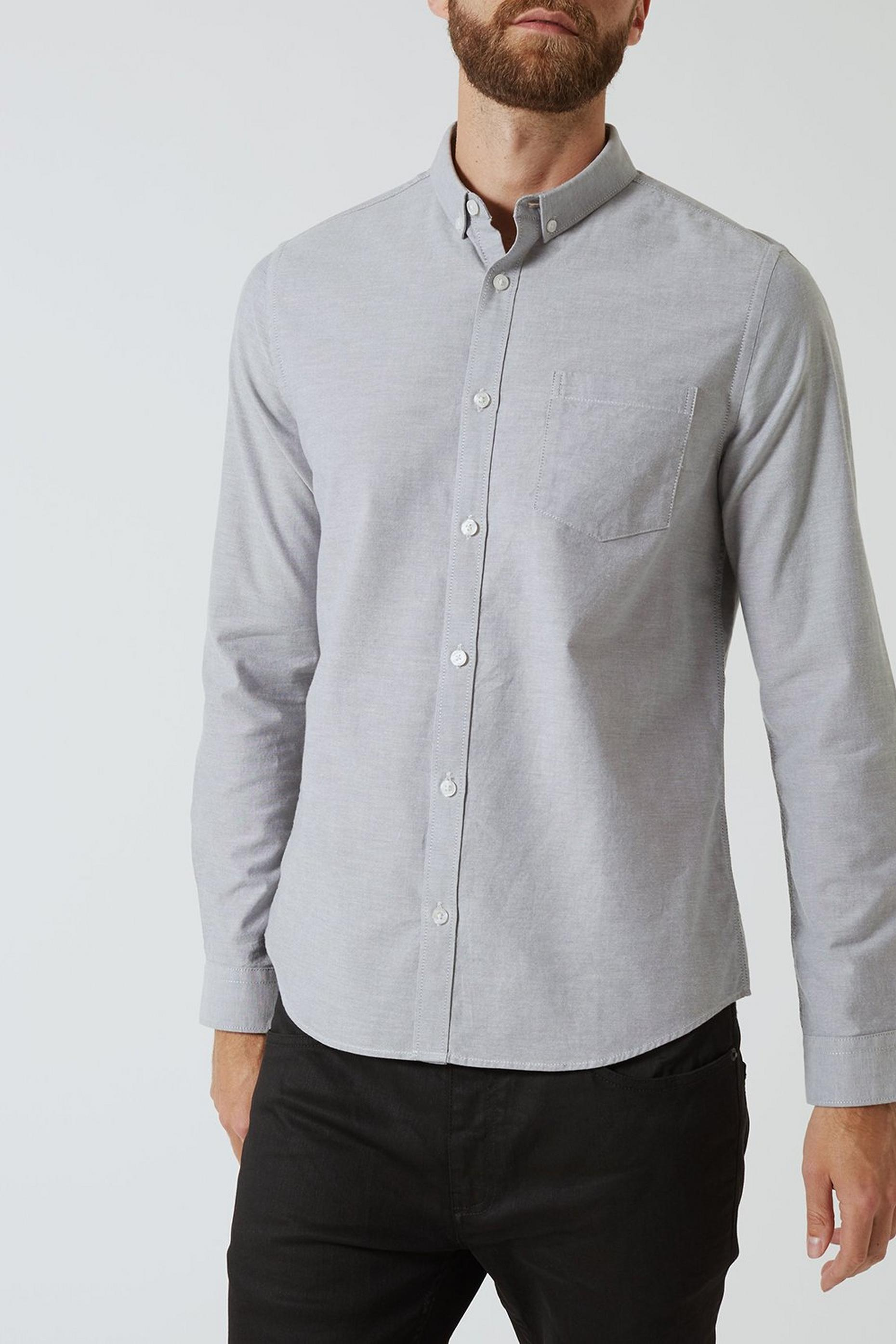 Grey Mist Long Sleeve Oxford Shirt