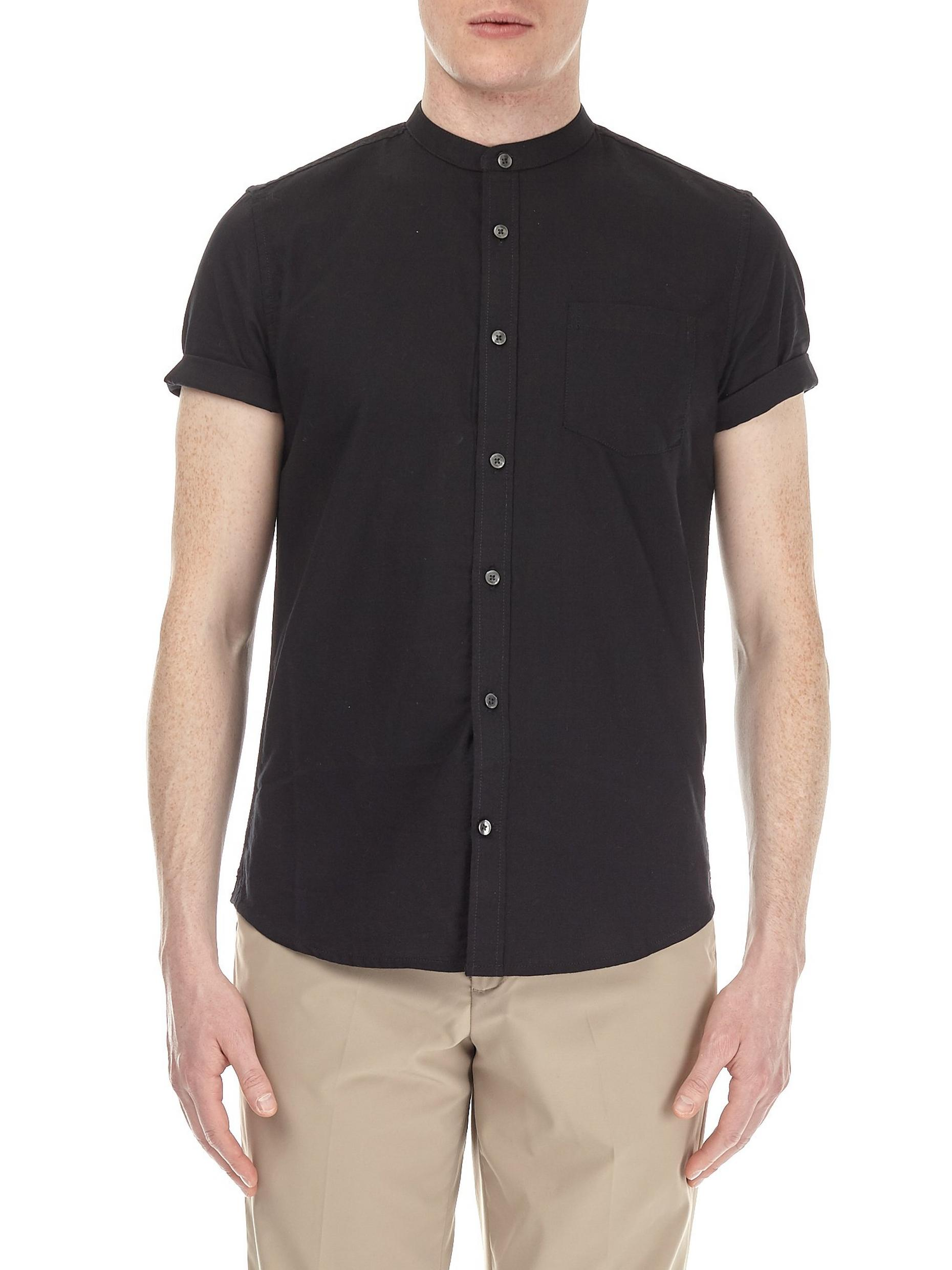 Black Short Sleeve Grandad Oxford Shirt