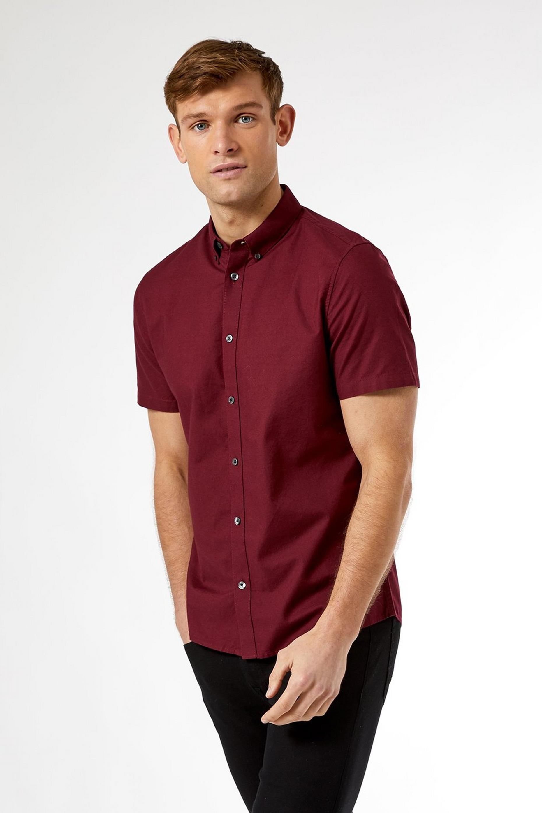 Burgundy Cotton Oxford Shirt