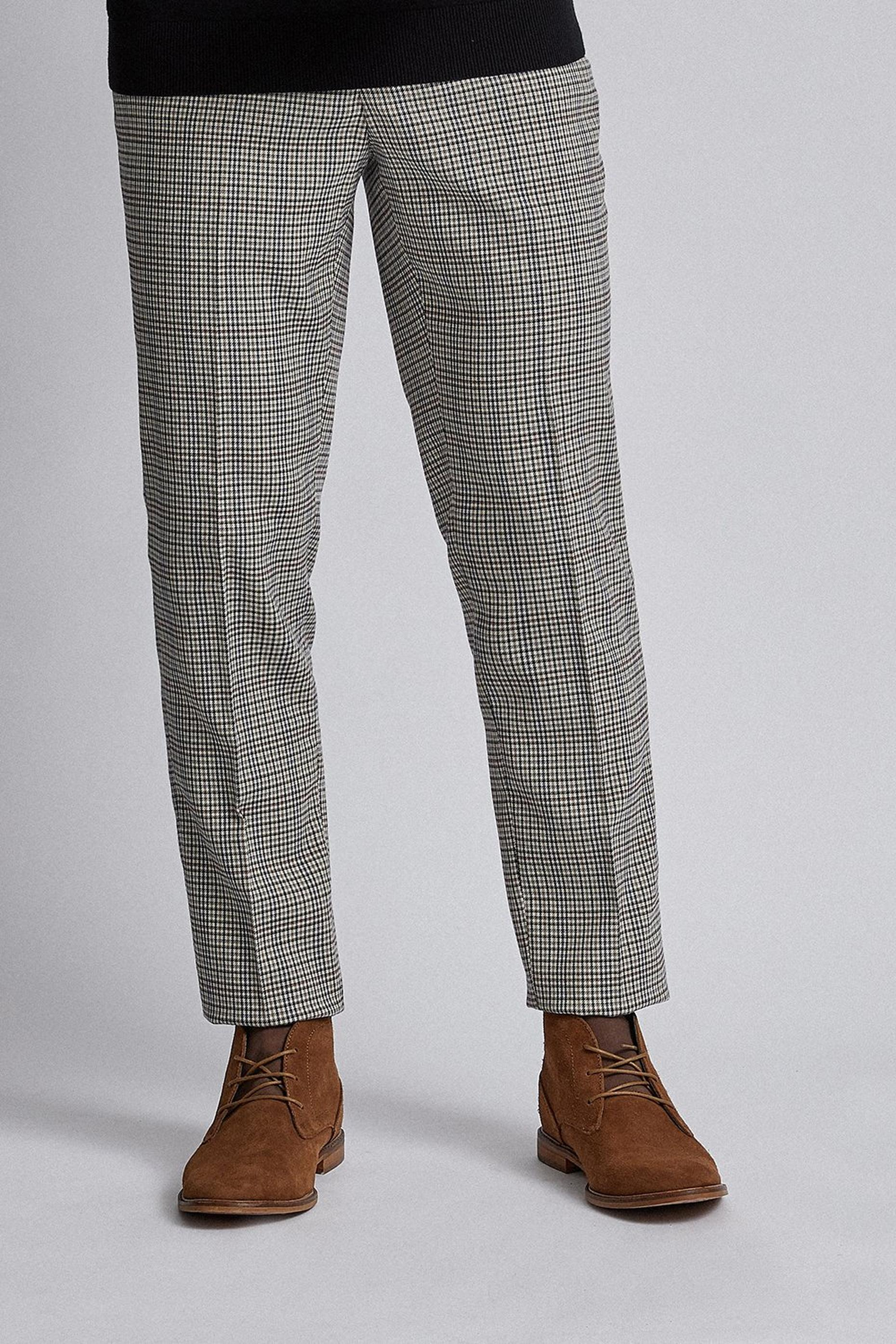 Multi Colour Tapered Fit Check Trousers