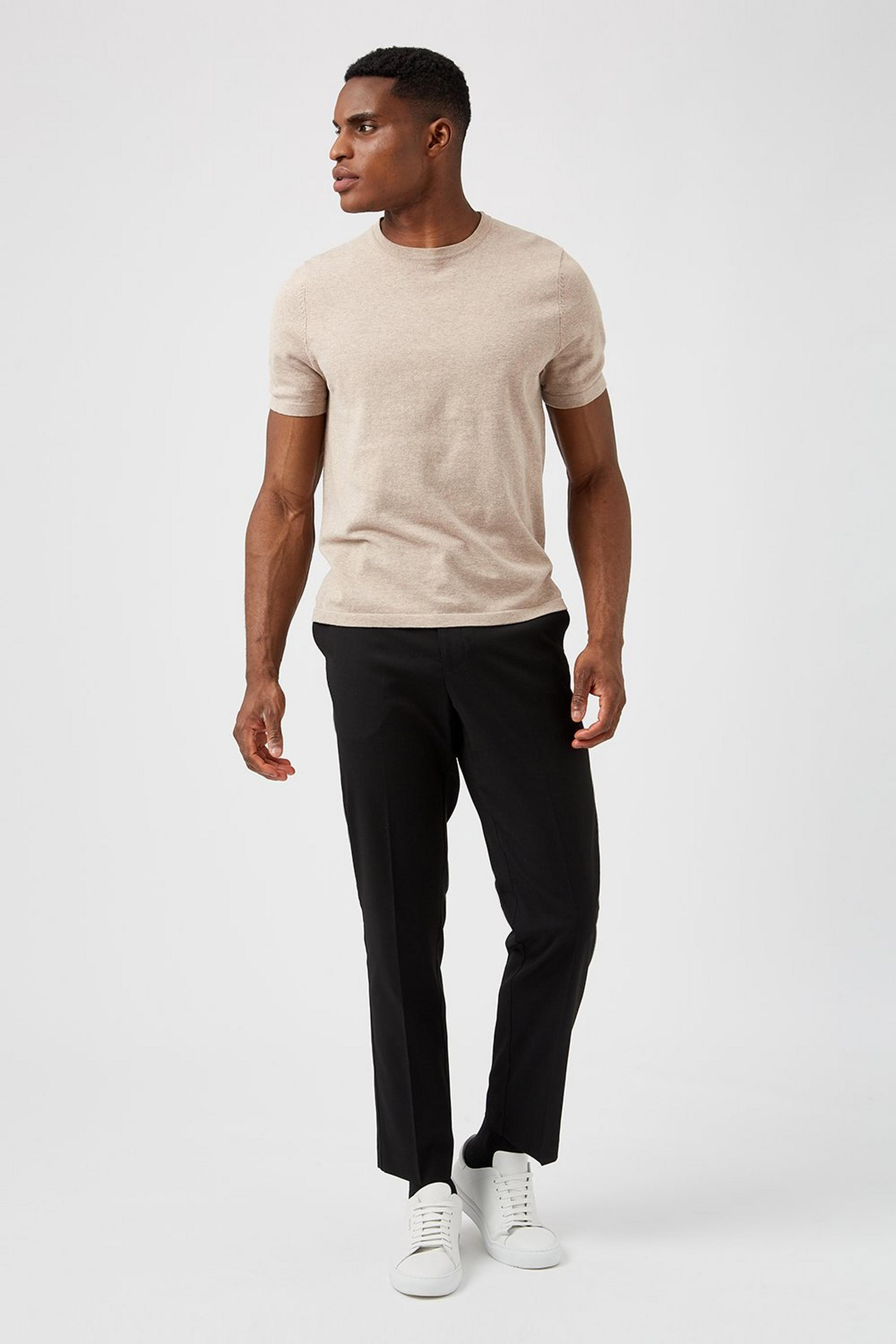 Black Tailored Fit Stretch Trousers