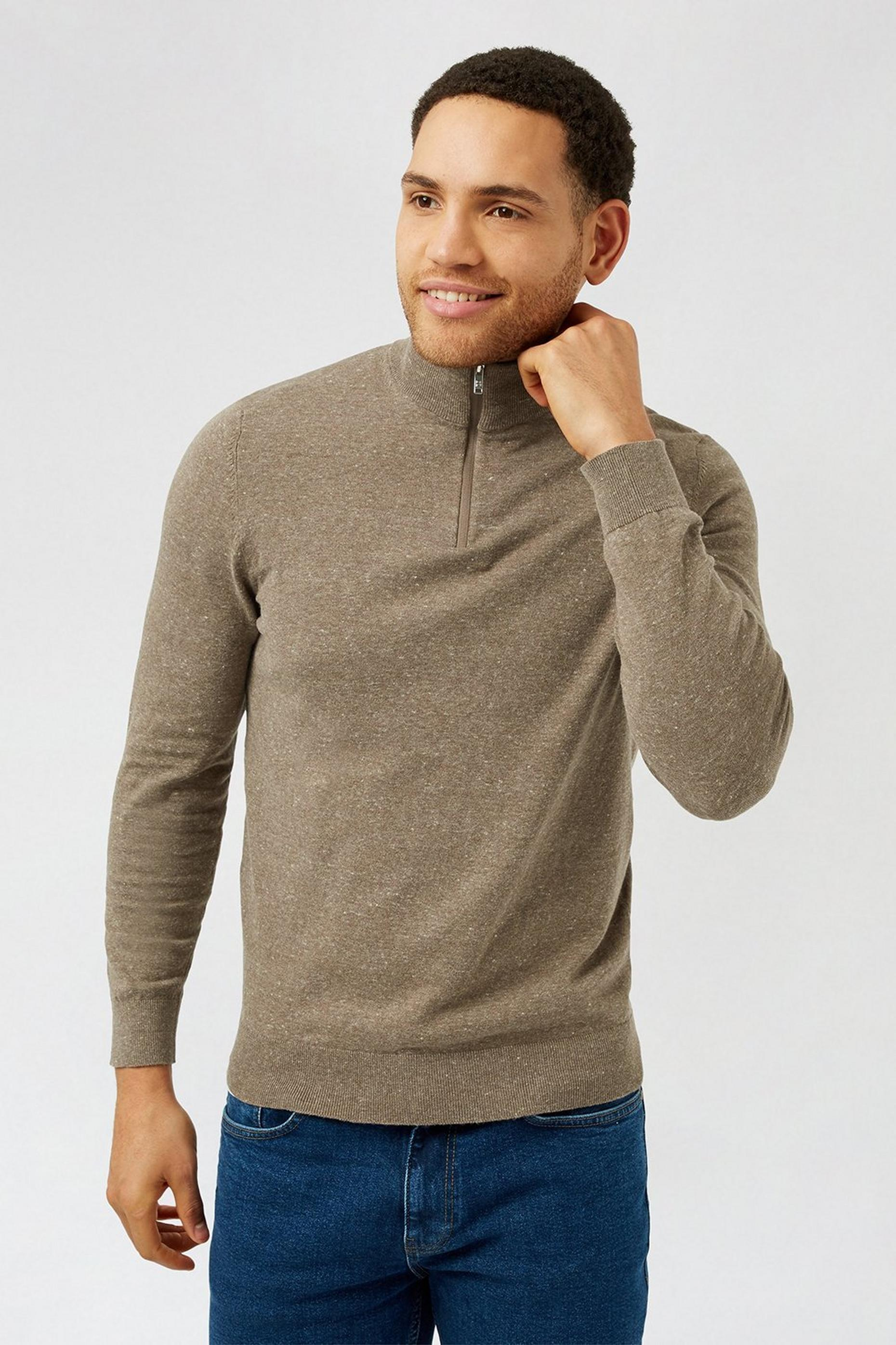 Brown half zip Jumper