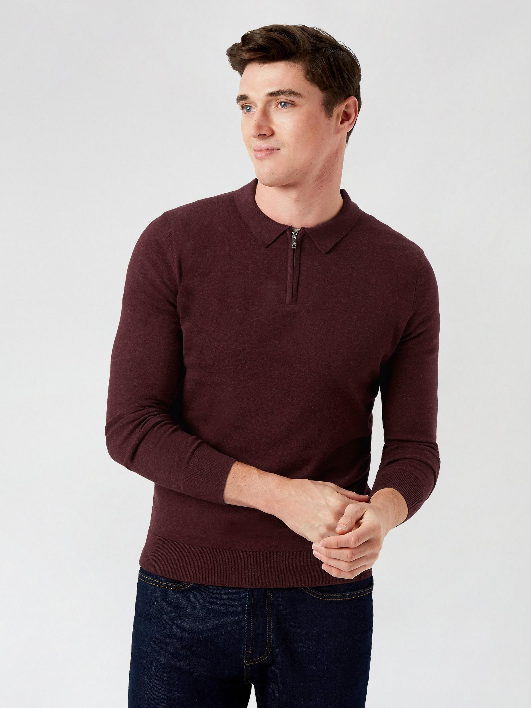 Fine Guage Burgundy Zip Polo Jumper
