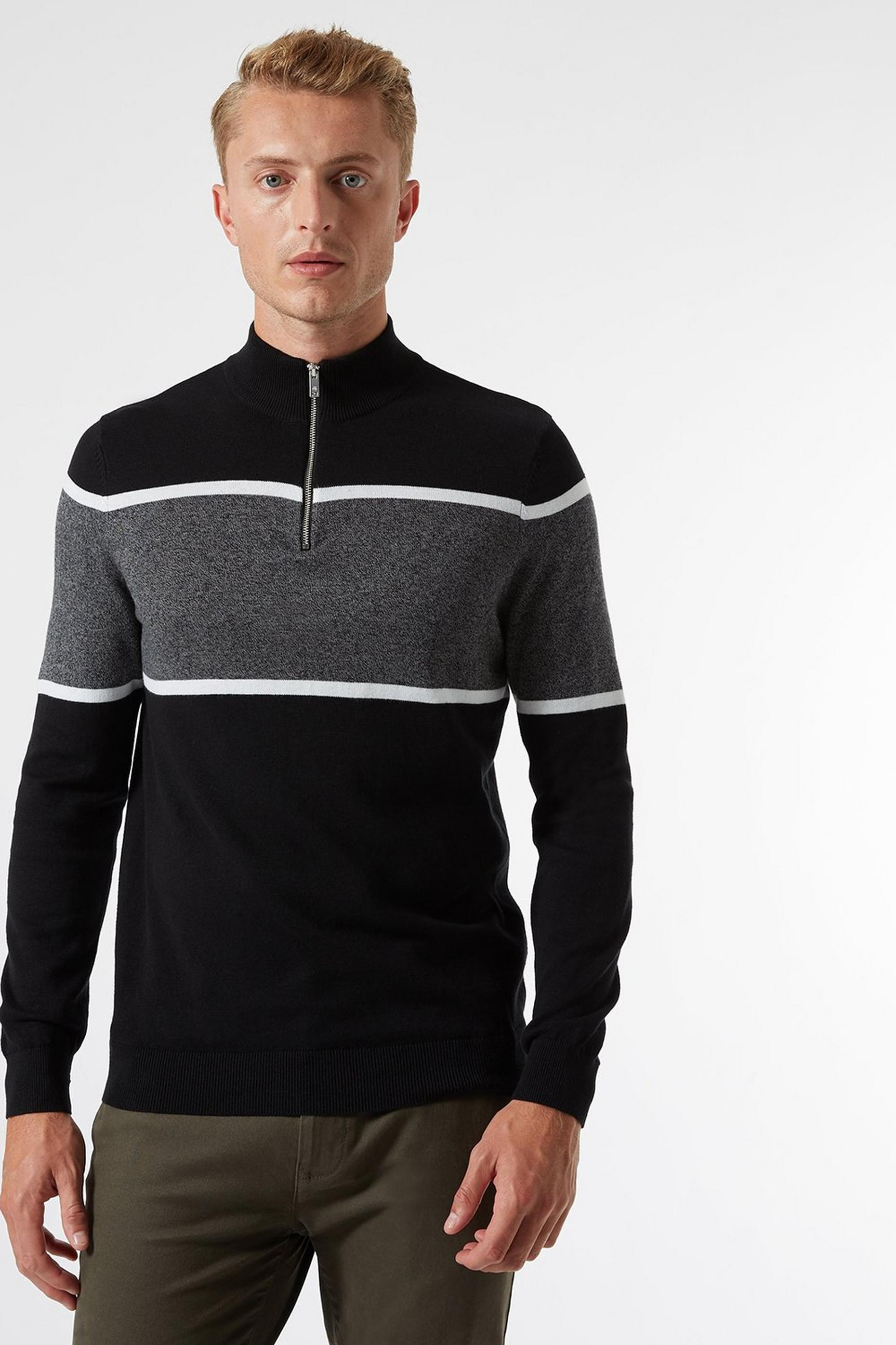 Black Half Zip Jumper With Chest Stripe