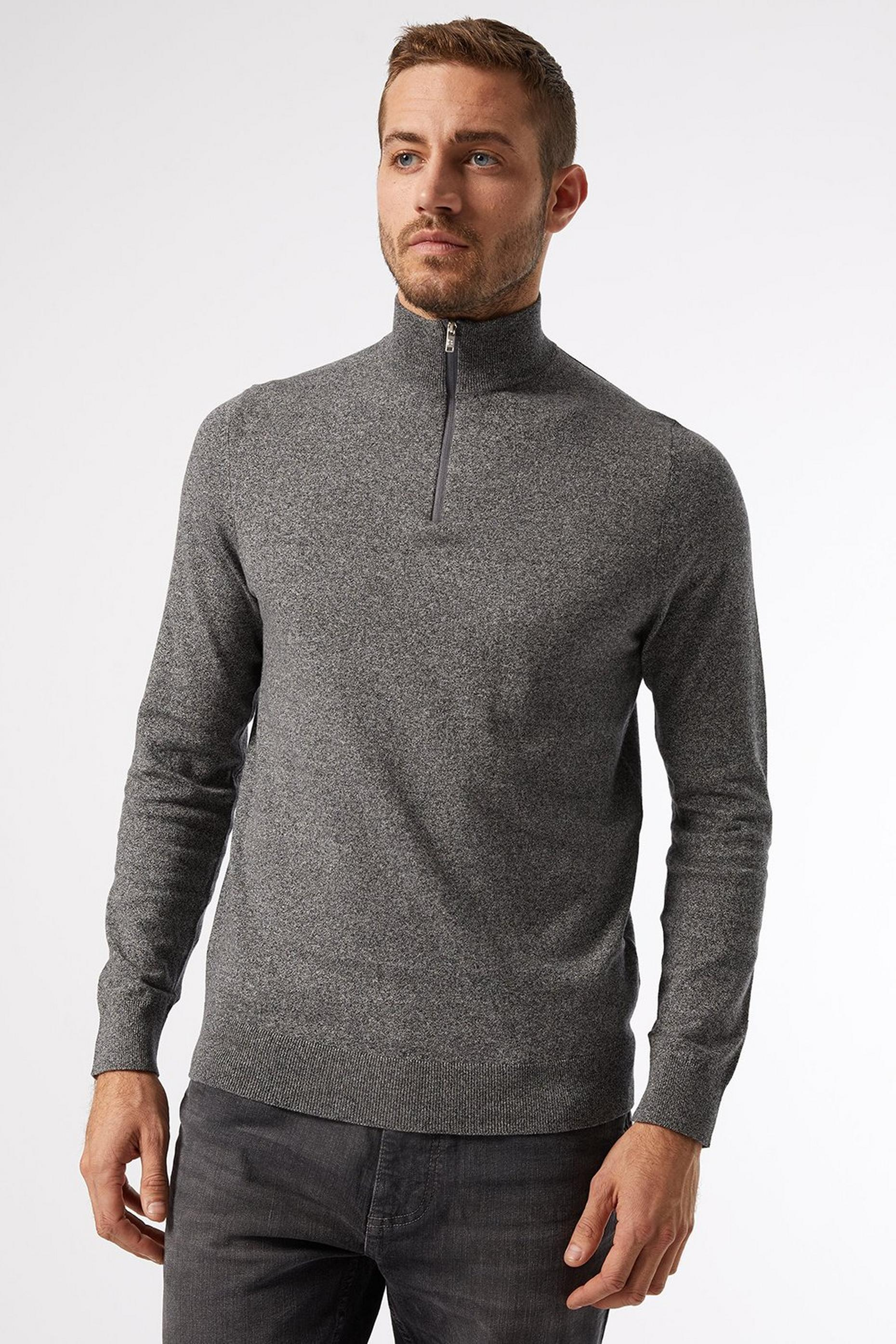 Grey Twist Half Zip Jumper With Organic Cotton