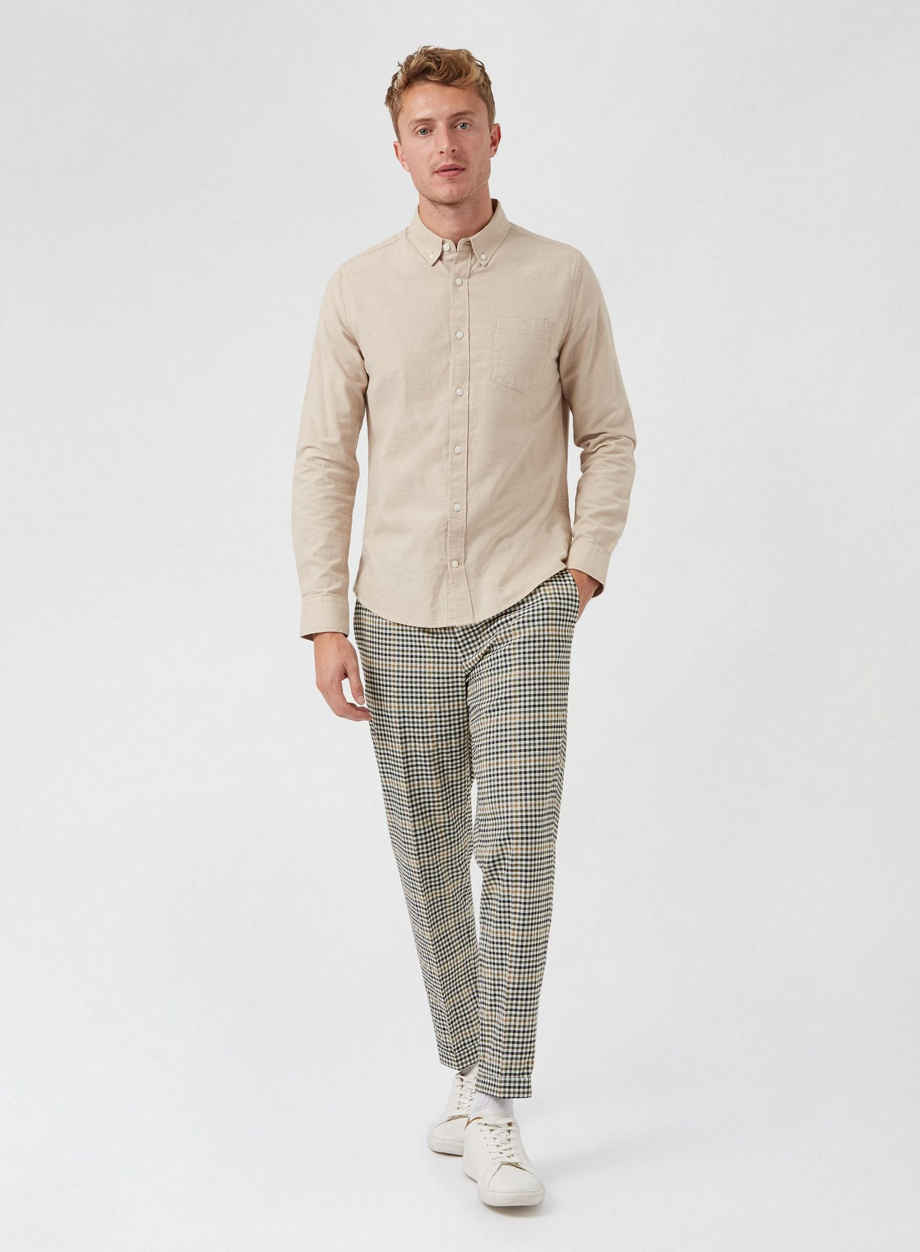 Green Tapered Mini Check Crop Trousers