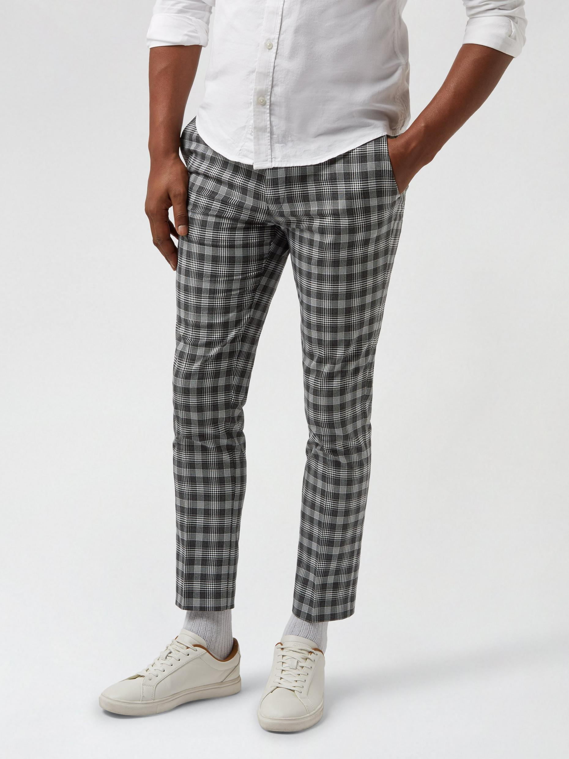 Skinny Grey Check Cropped Trousers