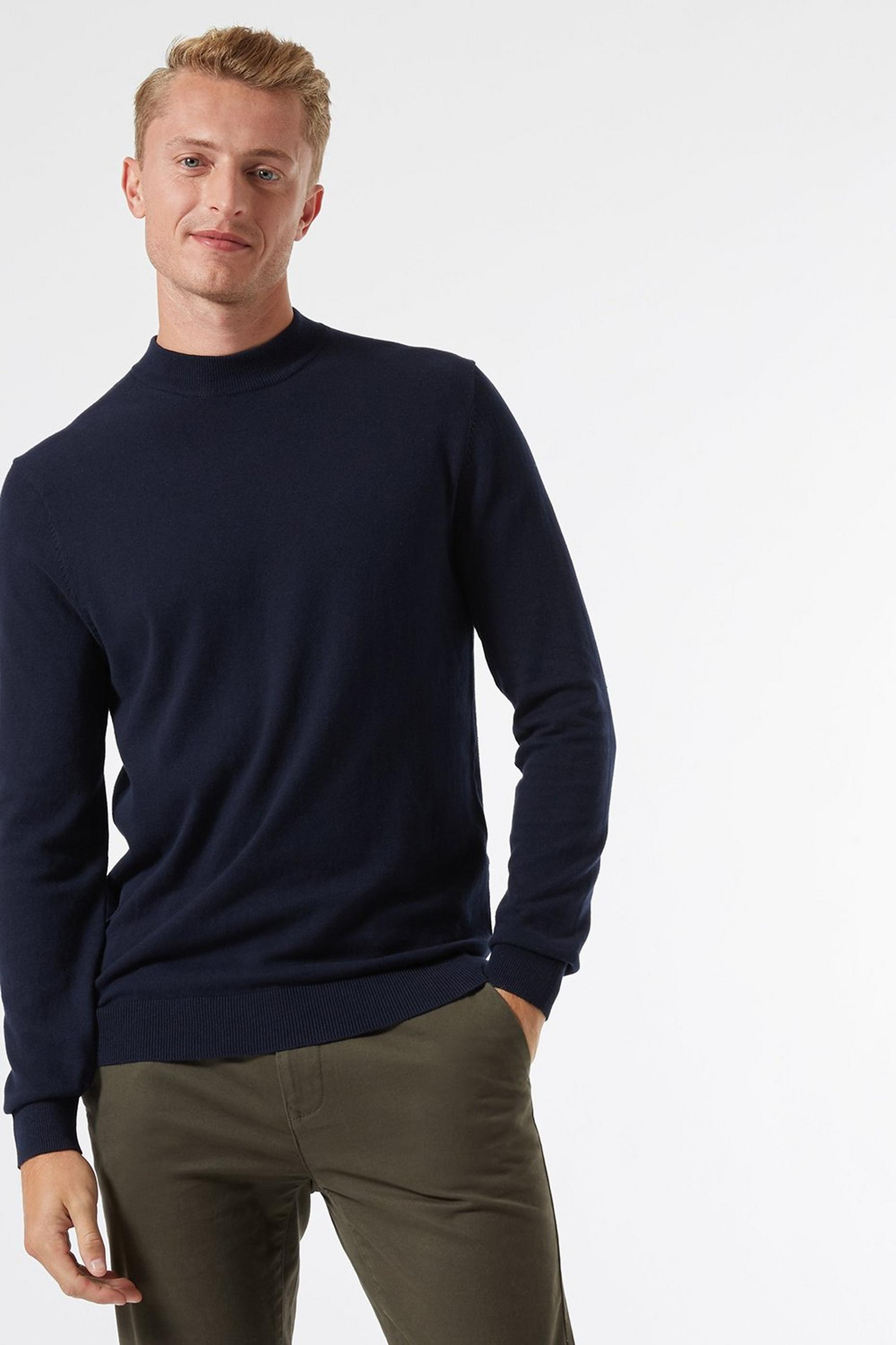 Navy Turtle Neck Jumper with Organic Cotton