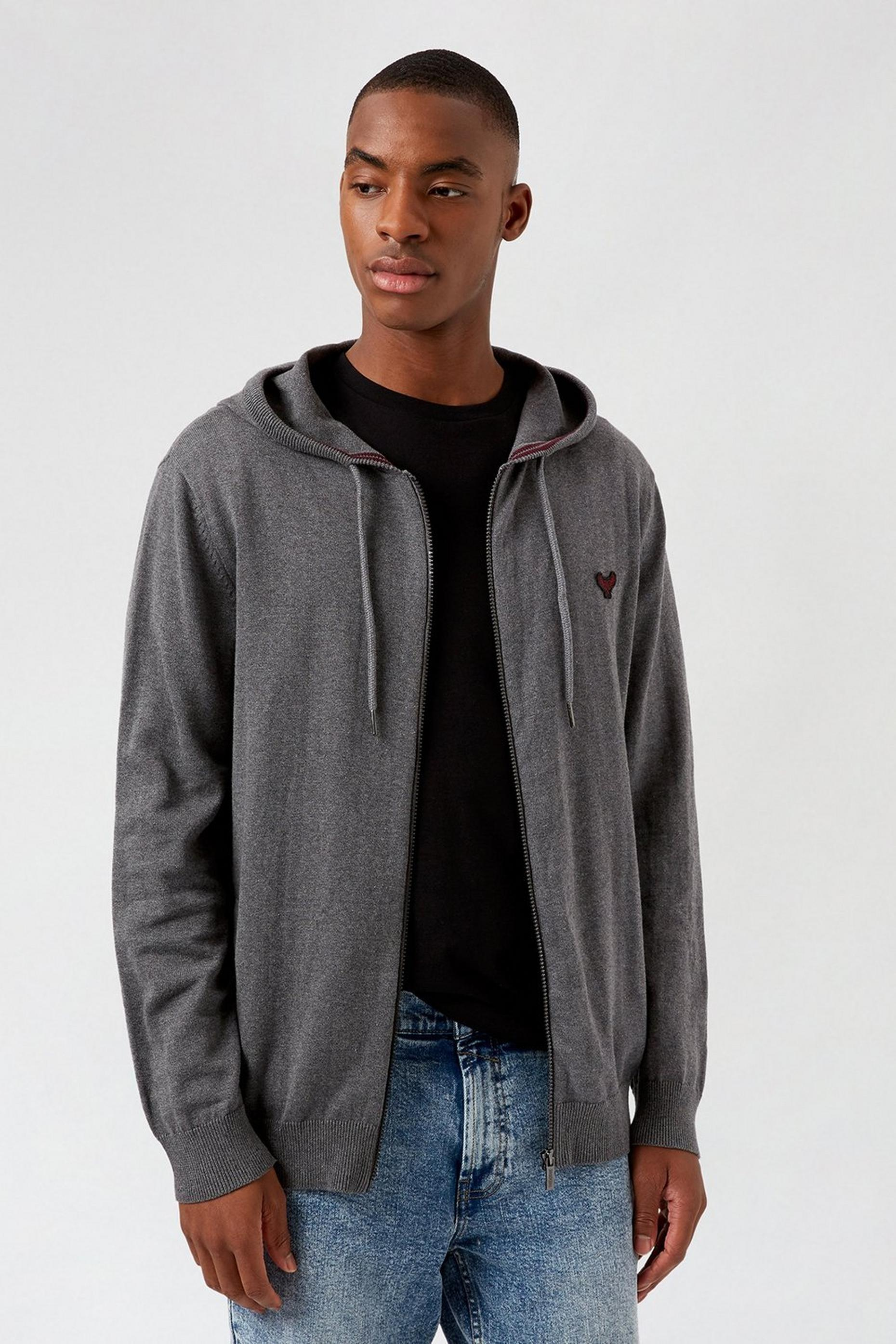Light Grey Zip Through Hood